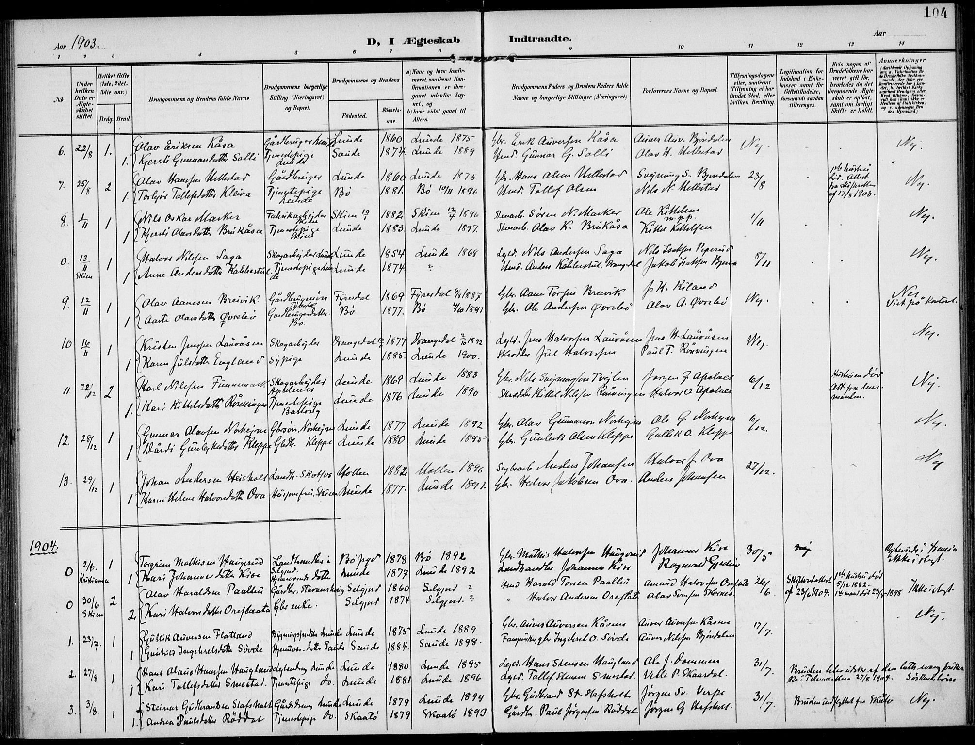 SAKO, Lunde kirkebøker, F/Fa/L0004: Ministerialbok nr. I 4, 1902-1913, s. 104