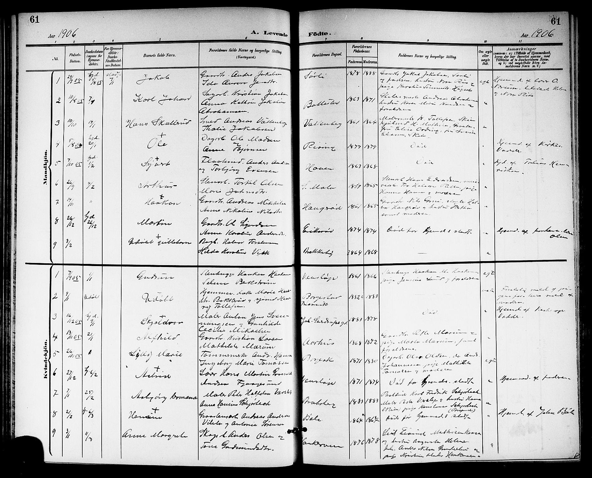SAKO, Gjerpen kirkebøker, G/Ga/L0003: Klokkerbok nr. I 3, 1901-1919, s. 61