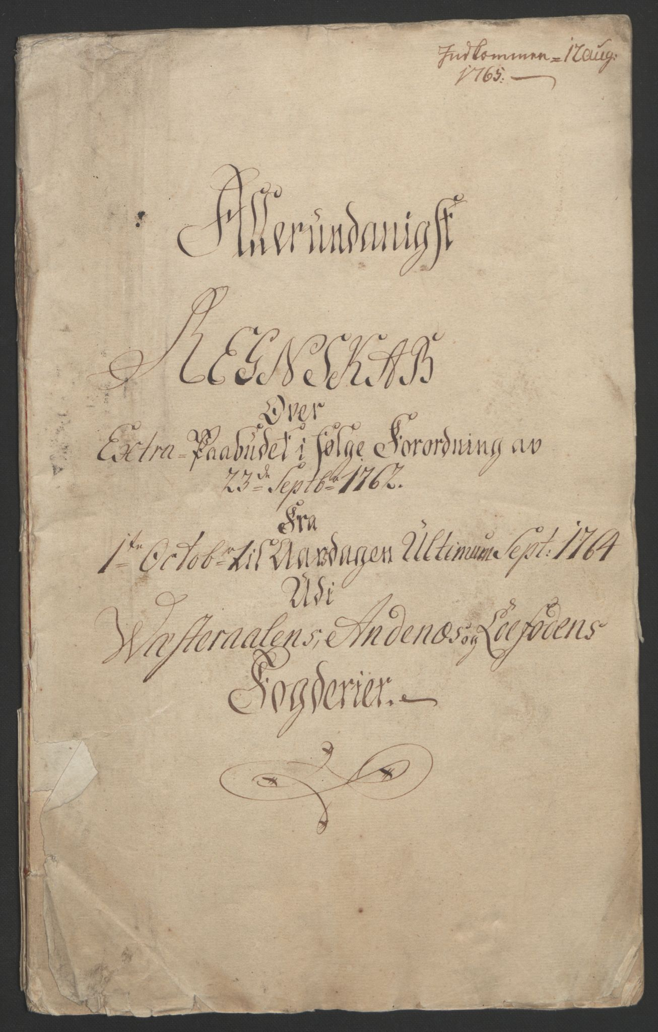 RA, Rentekammeret inntil 1814, Reviderte regnskaper, Fogderegnskap, R67/L4747: Ekstraskatten Vesterålen, Andenes og Lofoten, 1762-1766, s. 190