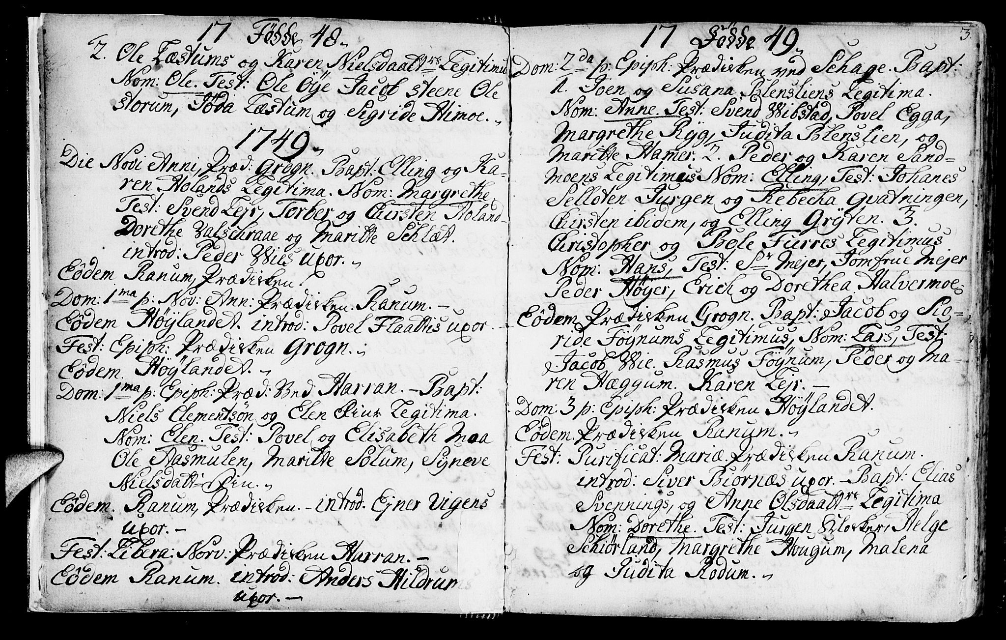SAT, Ministerialprotokoller, klokkerbøker og fødselsregistre - Nord-Trøndelag, 764/L0542: Ministerialbok nr. 764A02, 1748-1779, s. 3