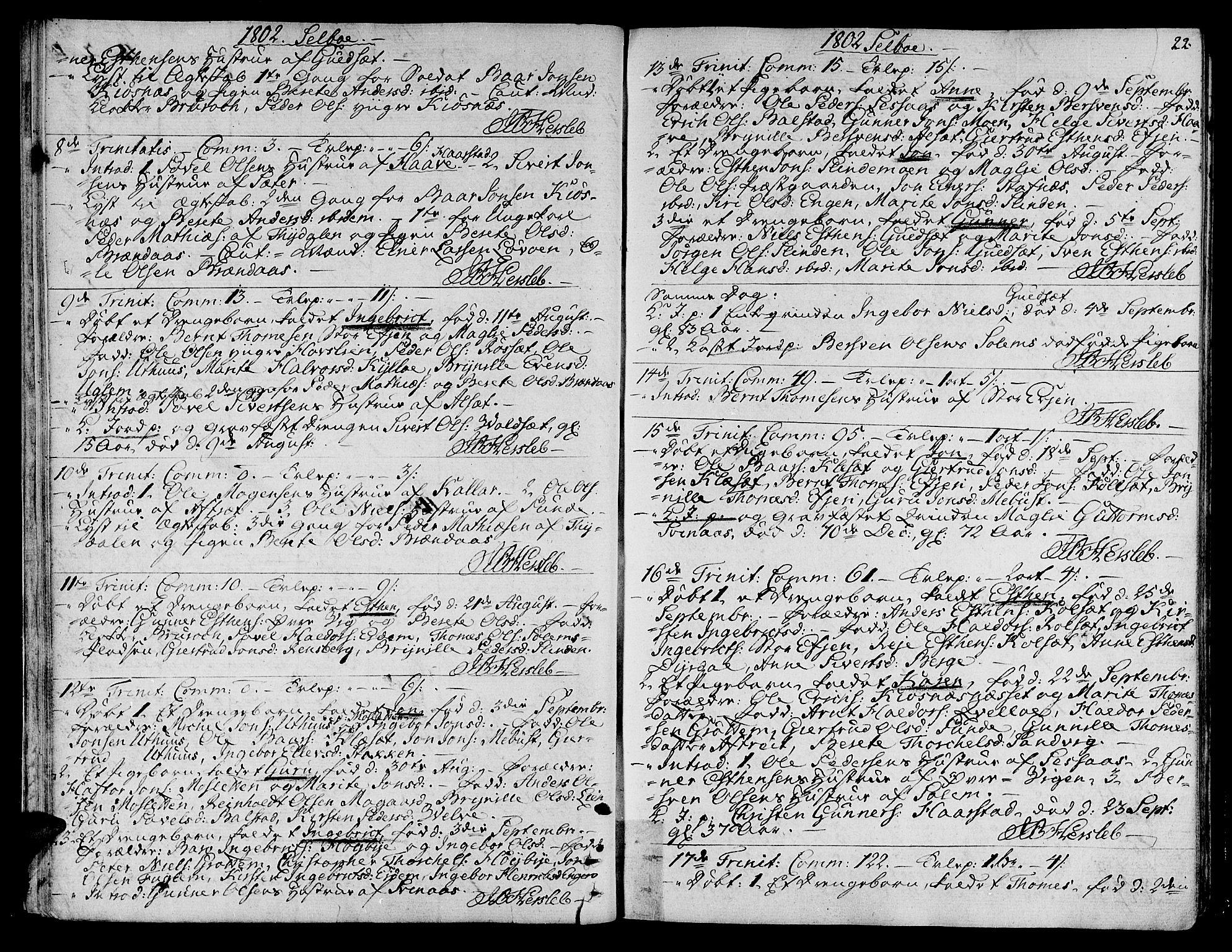 SAT, Ministerialprotokoller, klokkerbøker og fødselsregistre - Sør-Trøndelag, 695/L1140: Ministerialbok nr. 695A03, 1801-1815, s. 22