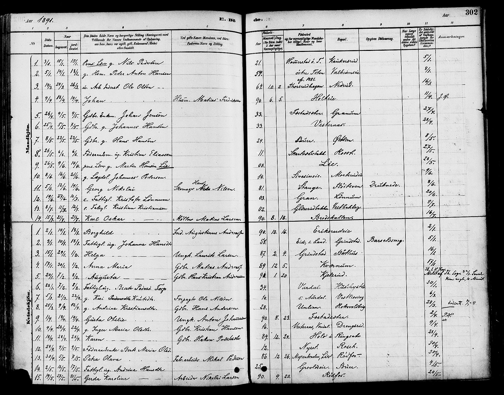 SAH, Vestre Toten prestekontor, H/Ha/Haa/L0009: Ministerialbok nr. 9, 1878-1894, s. 302
