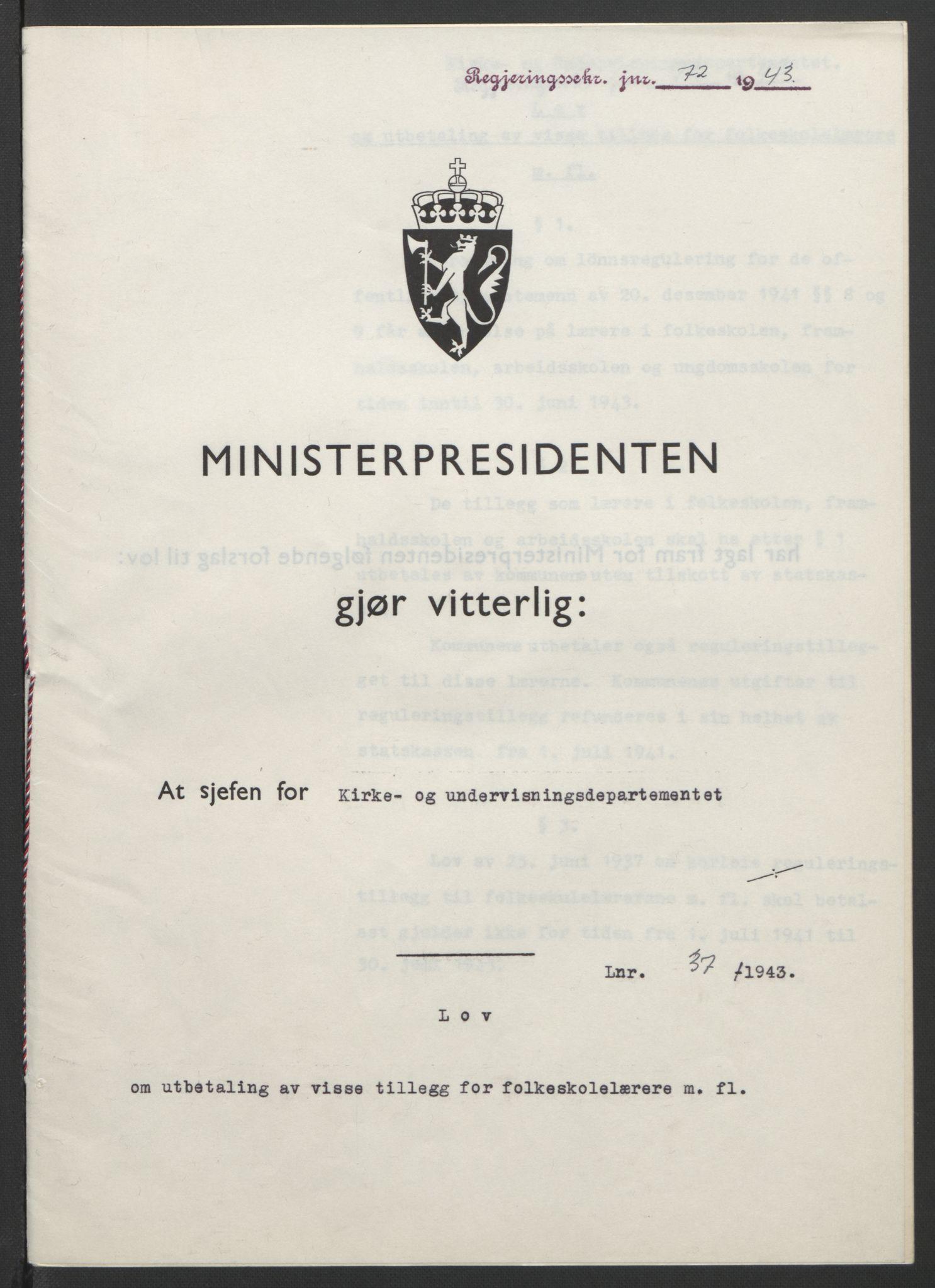 RA, NS-administrasjonen 1940-1945 (Statsrådsekretariatet, de kommisariske statsråder mm), D/Db/L0099: Lover, 1943, s. 158