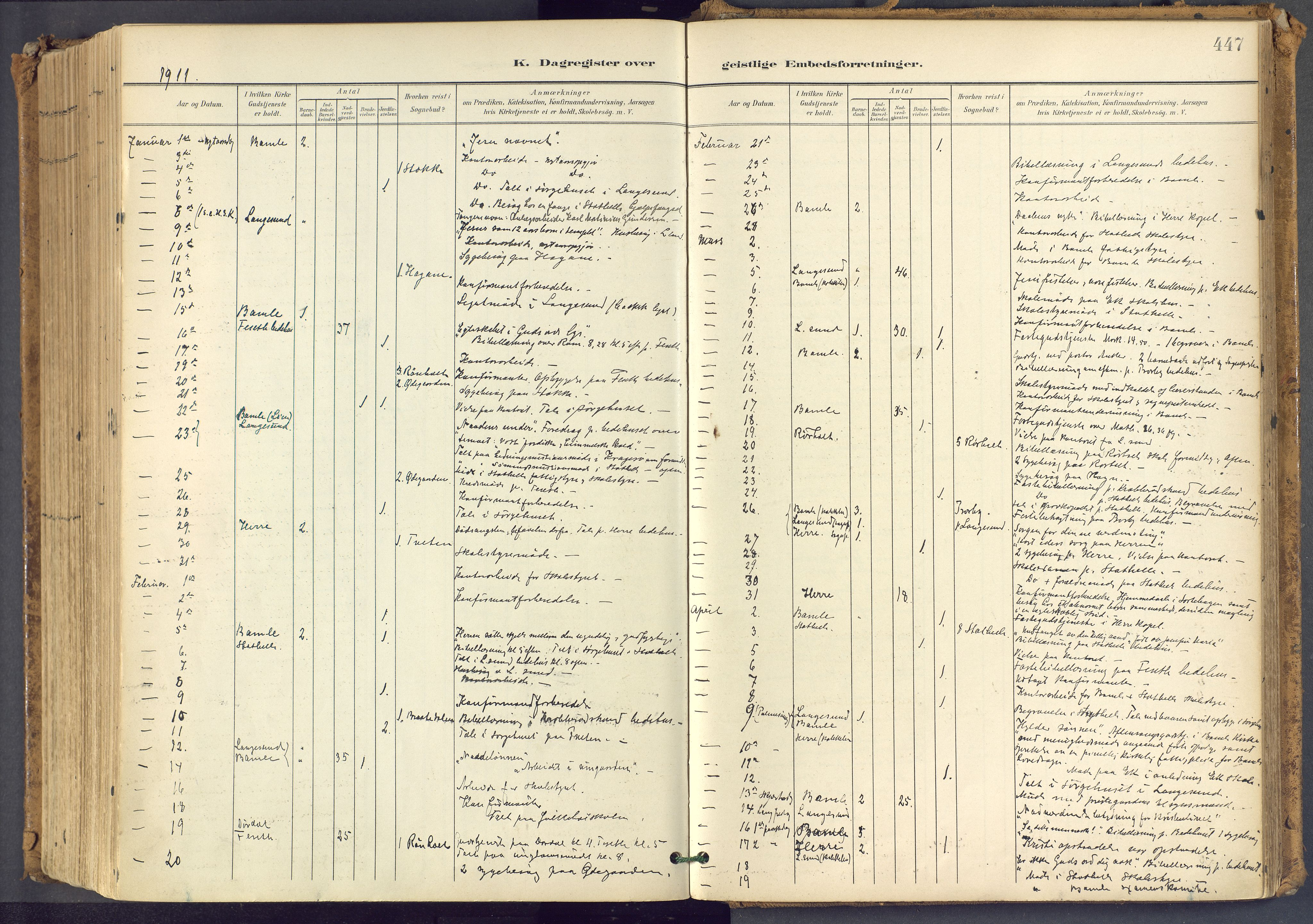 SAKO, Bamble kirkebøker, F/Fa/L0009: Ministerialbok nr. I 9, 1901-1917, s. 447