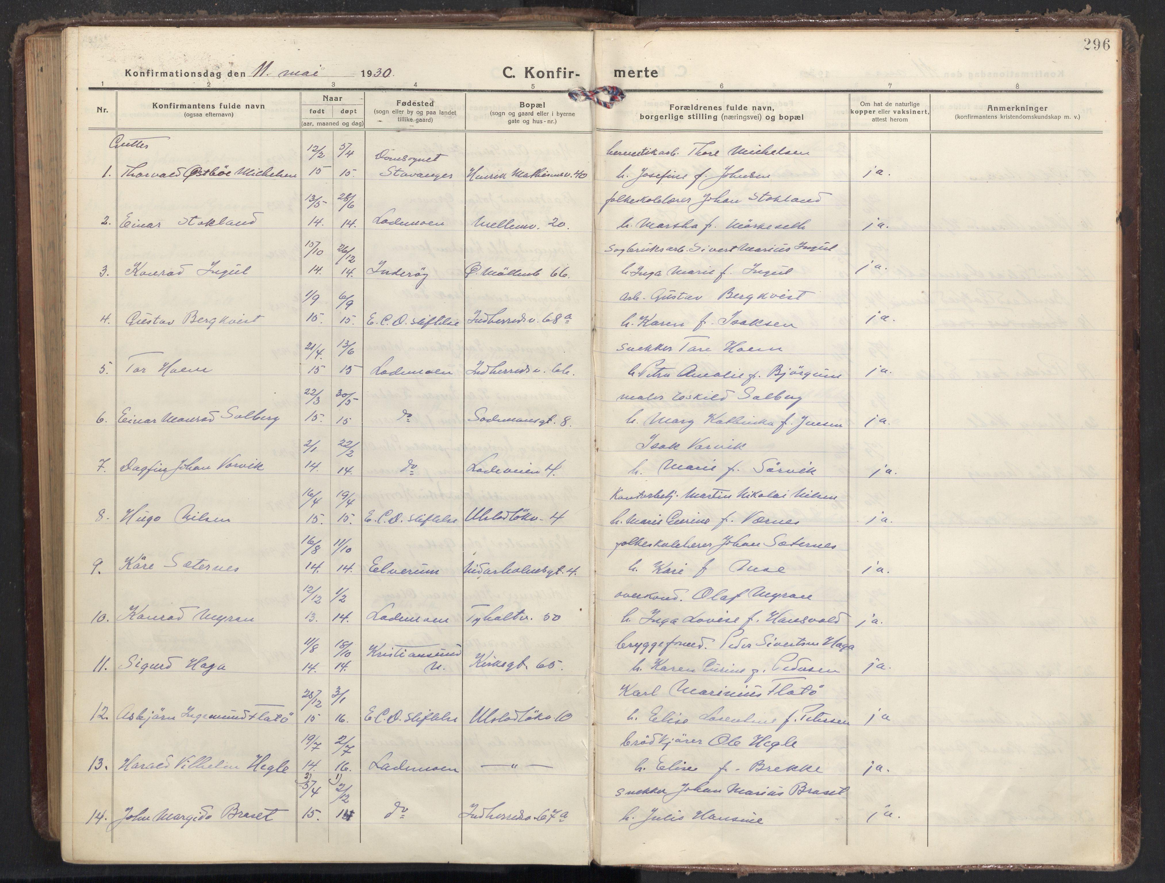 SAT, Ministerialprotokoller, klokkerbøker og fødselsregistre - Sør-Trøndelag, 605/L0247: Ministerialbok nr. 605A09, 1918-1930, s. 296