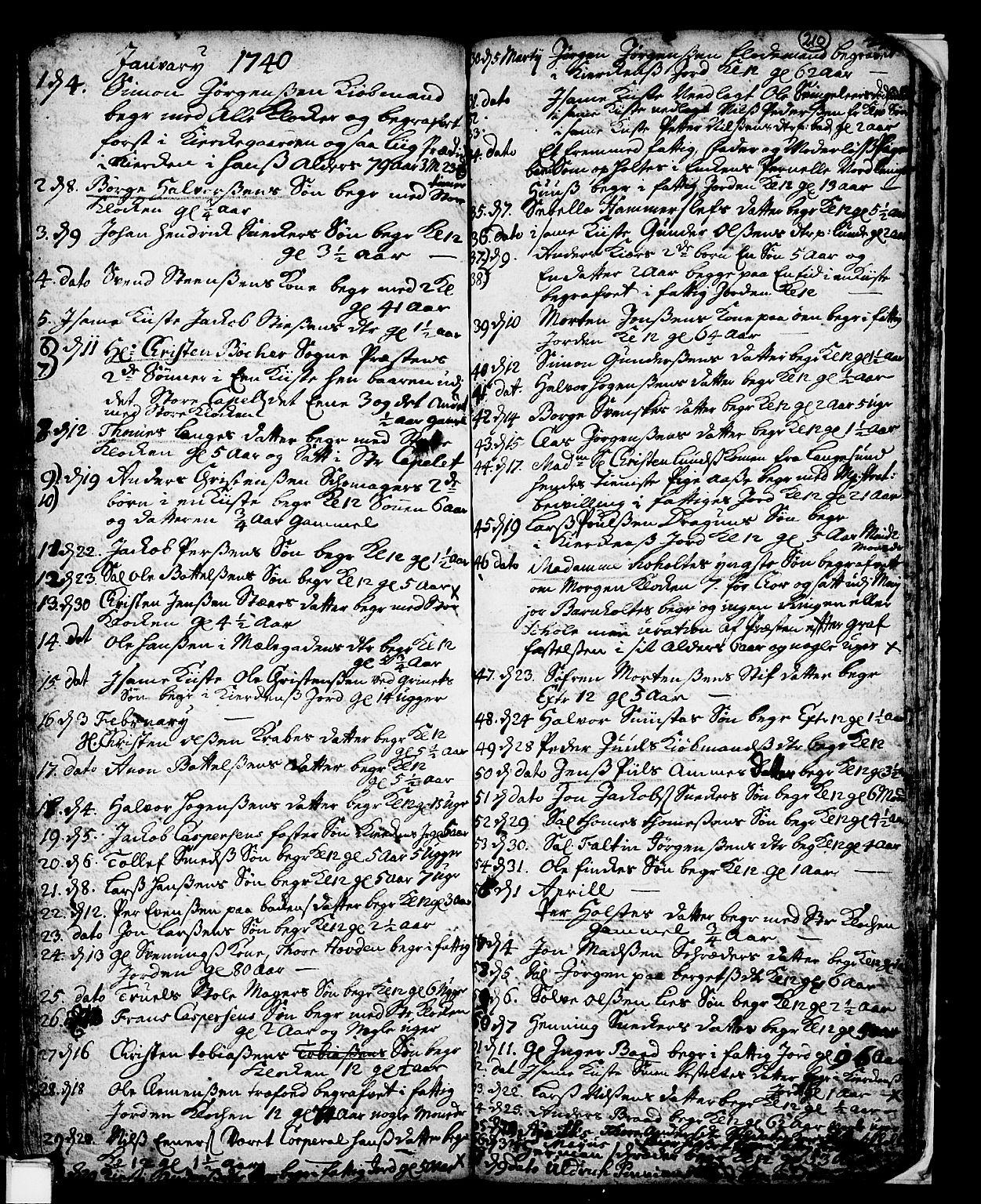 SAKO, Skien kirkebøker, F/Fa/L0002: Ministerialbok nr. 2, 1716-1757, s. 210