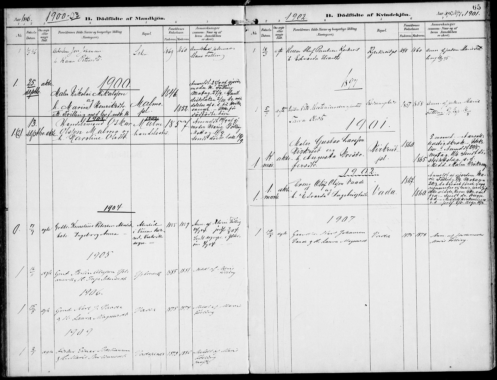 SAT, Ministerialprotokoller, klokkerbøker og fødselsregistre - Nord-Trøndelag, 745/L0430: Ministerialbok nr. 745A02, 1895-1913, s. 65