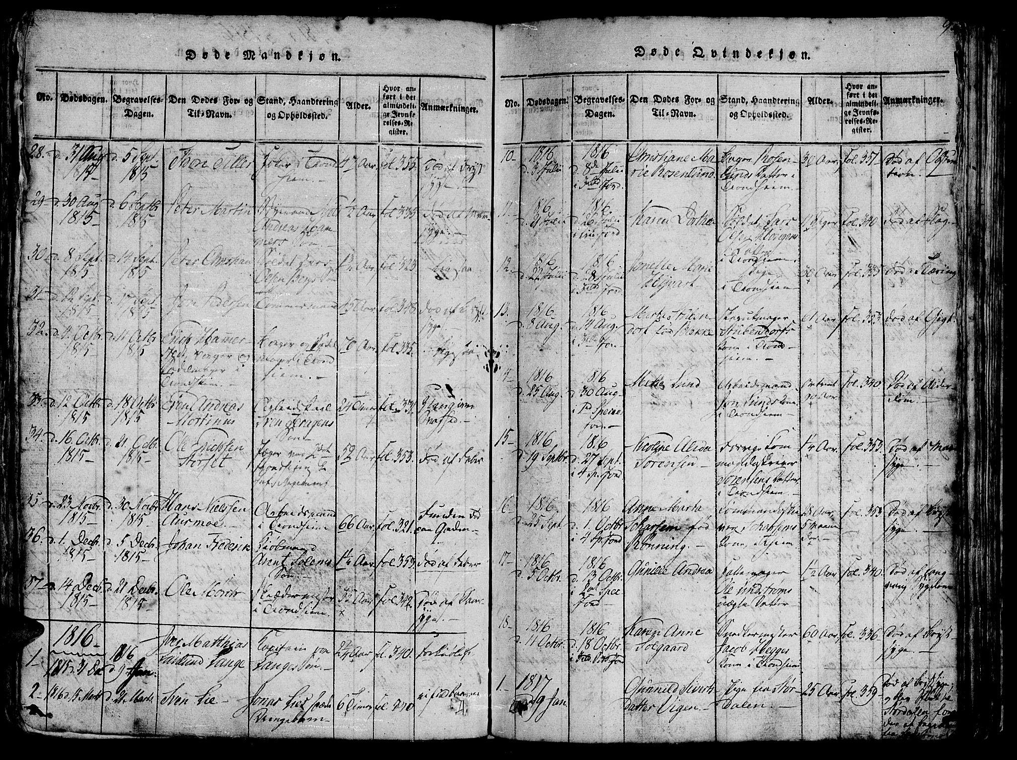 SAT, Ministerialprotokoller, klokkerbøker og fødselsregistre - Sør-Trøndelag, 602/L0135: Klokkerbok nr. 602C03, 1815-1832, s. 95