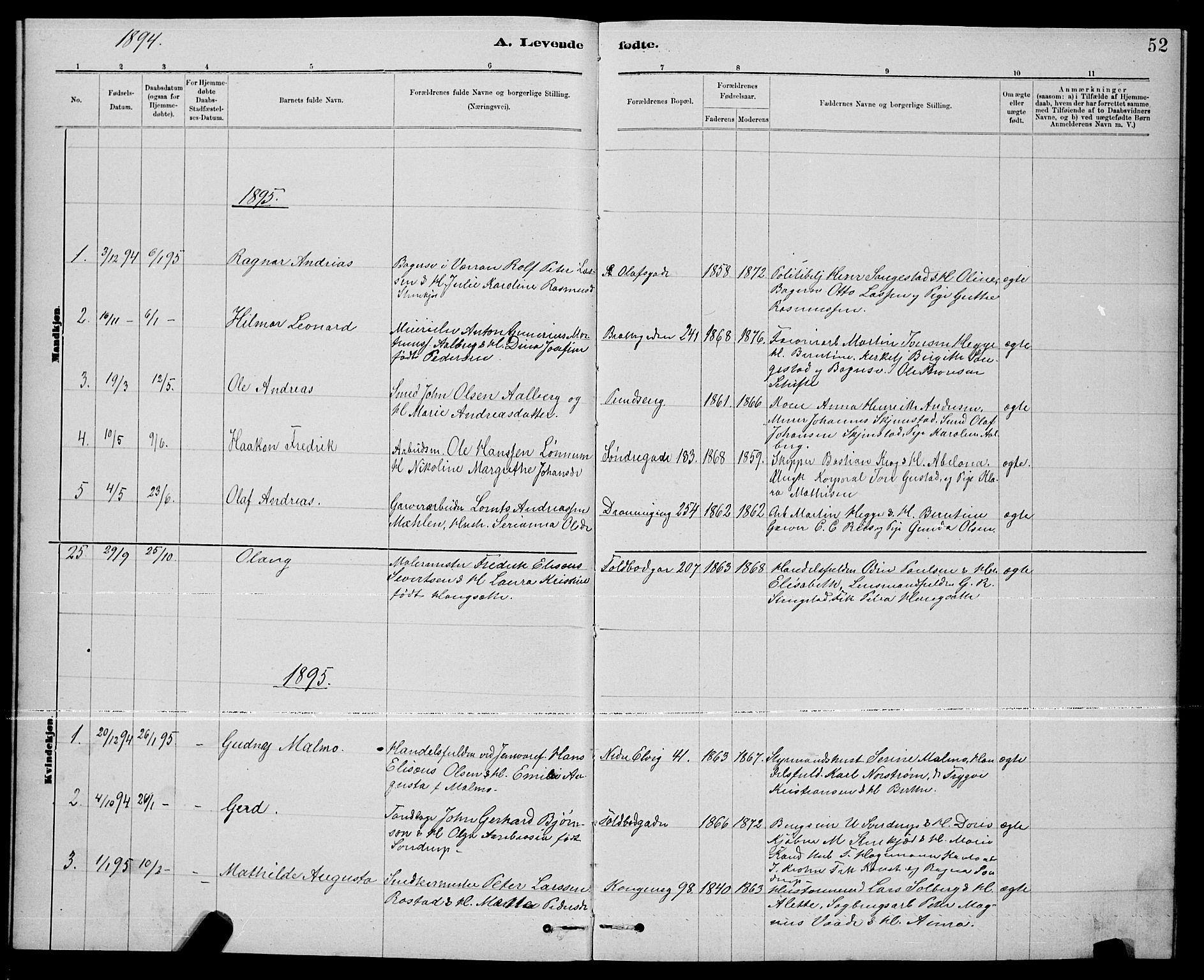 SAT, Ministerialprotokoller, klokkerbøker og fødselsregistre - Nord-Trøndelag, 739/L0374: Klokkerbok nr. 739C02, 1883-1898, s. 52