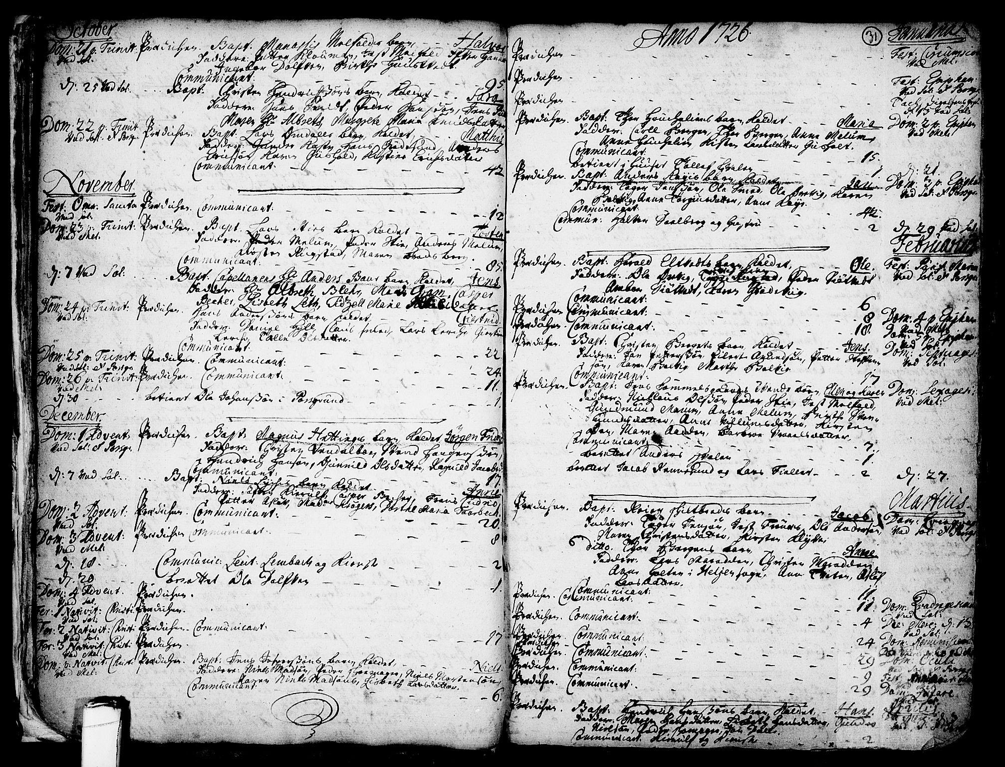 SAKO, Solum kirkebøker, F/Fa/L0002: Ministerialbok nr. I 2, 1713-1761, s. 31