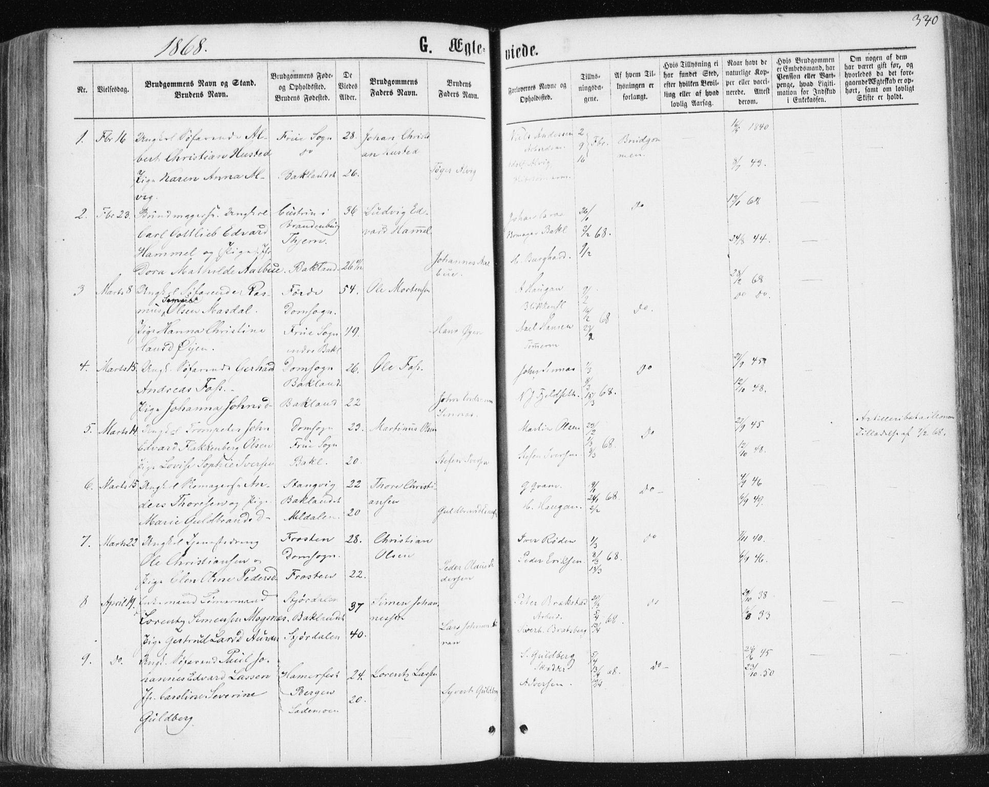 SAT, Ministerialprotokoller, klokkerbøker og fødselsregistre - Sør-Trøndelag, 604/L0186: Ministerialbok nr. 604A07, 1866-1877, s. 340