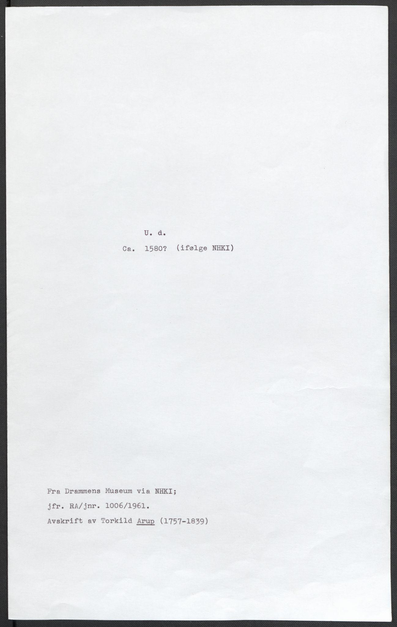 RA, Riksarkivets diplomsamling, F02/L0082: Dokumenter, 1580, s. 71