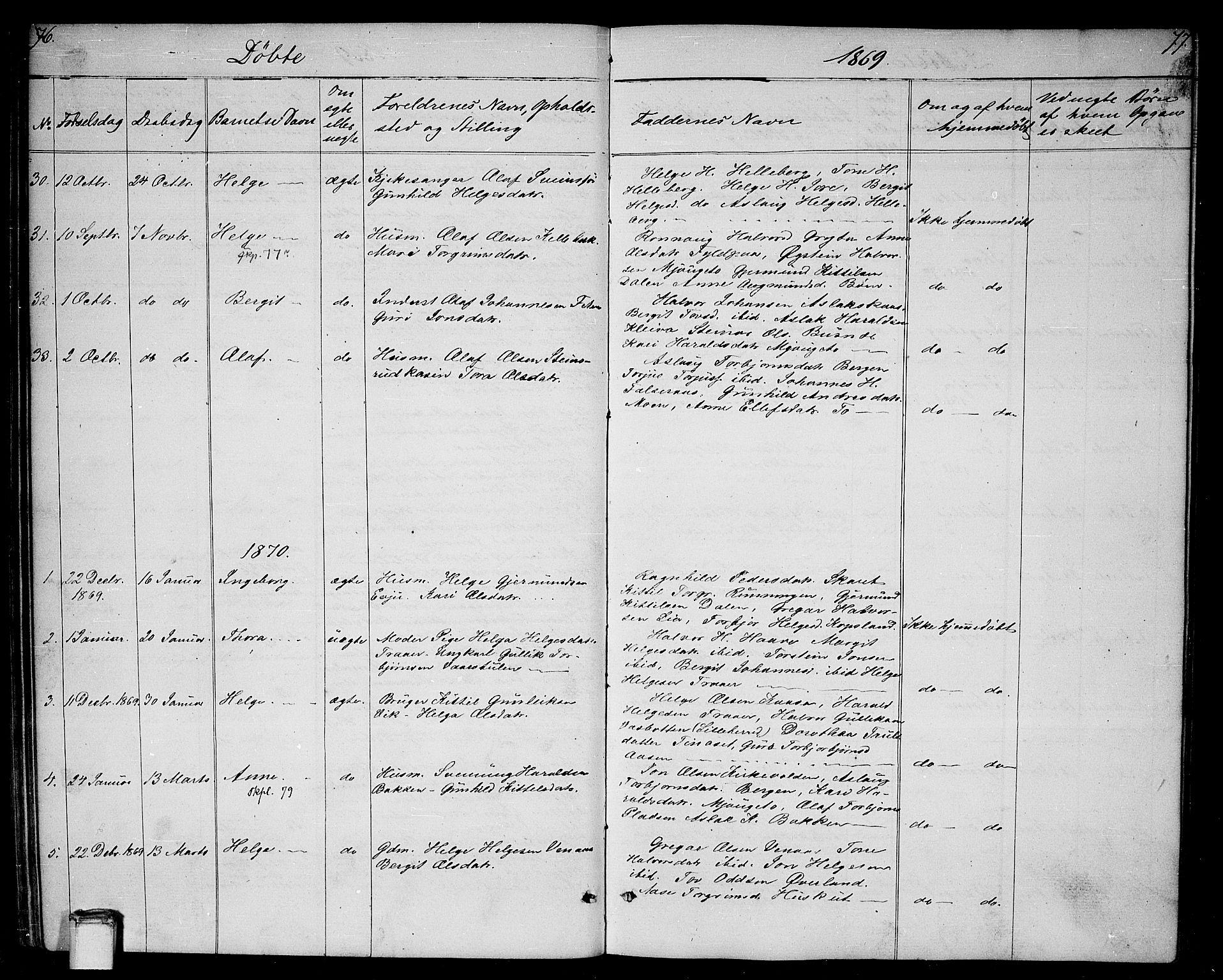 SAKO, Gransherad kirkebøker, G/Ga/L0002: Klokkerbok nr. I 2, 1854-1886, s. 76-77