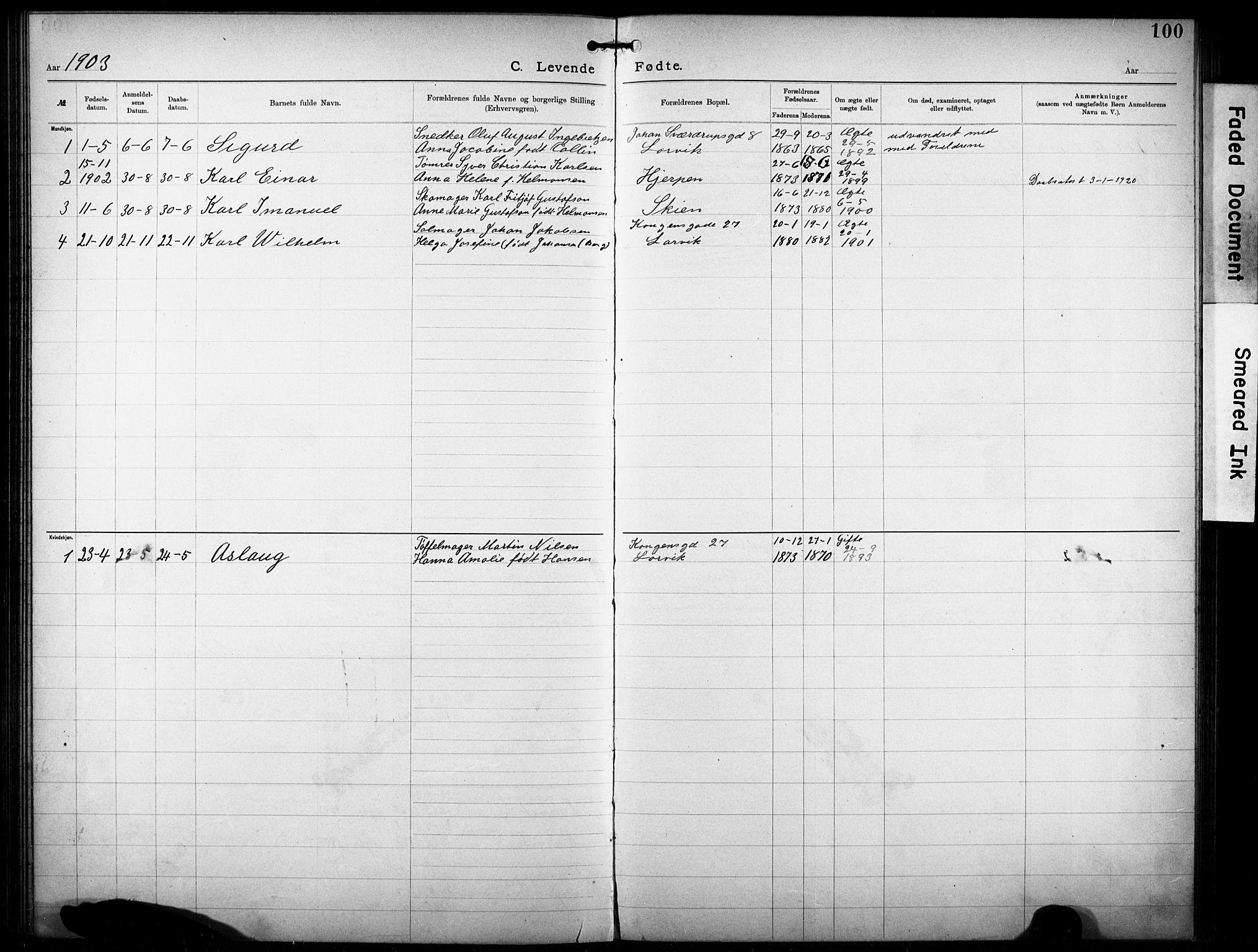 SAKO, Den katolsk-apostoliske menighet i Larvik, F/Fa/L0001: Dissenterprotokoll nr. 1, 1892-1933, s. 100