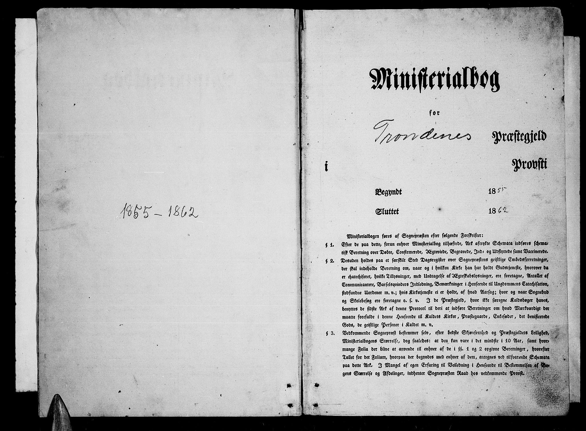 SATØ, Trondenes sokneprestkontor, H/Hb/L0007klokker: Klokkerbok nr. 7, 1855-1862