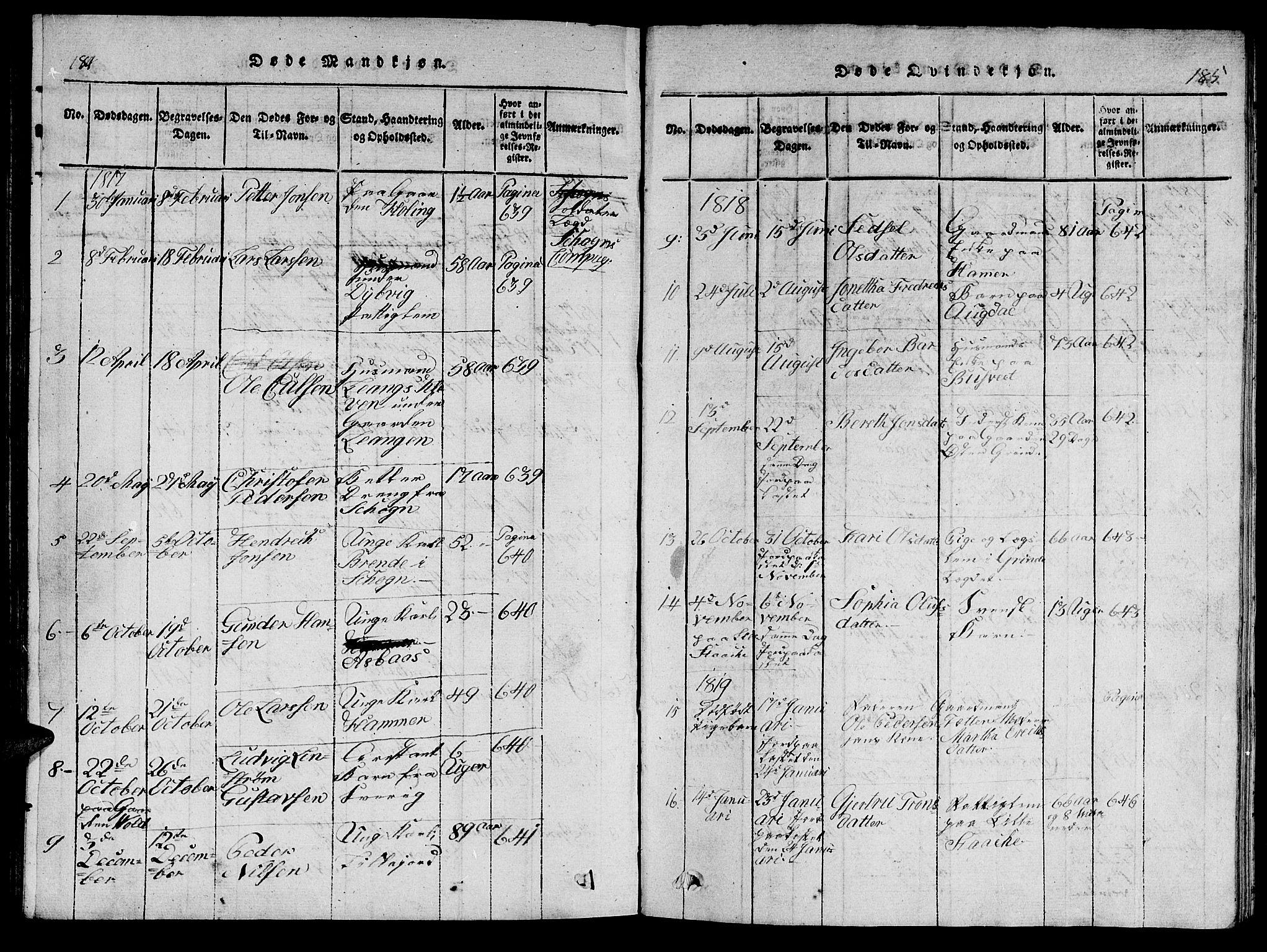 SAT, Ministerialprotokoller, klokkerbøker og fødselsregistre - Nord-Trøndelag, 714/L0132: Klokkerbok nr. 714C01, 1817-1824, s. 184-185