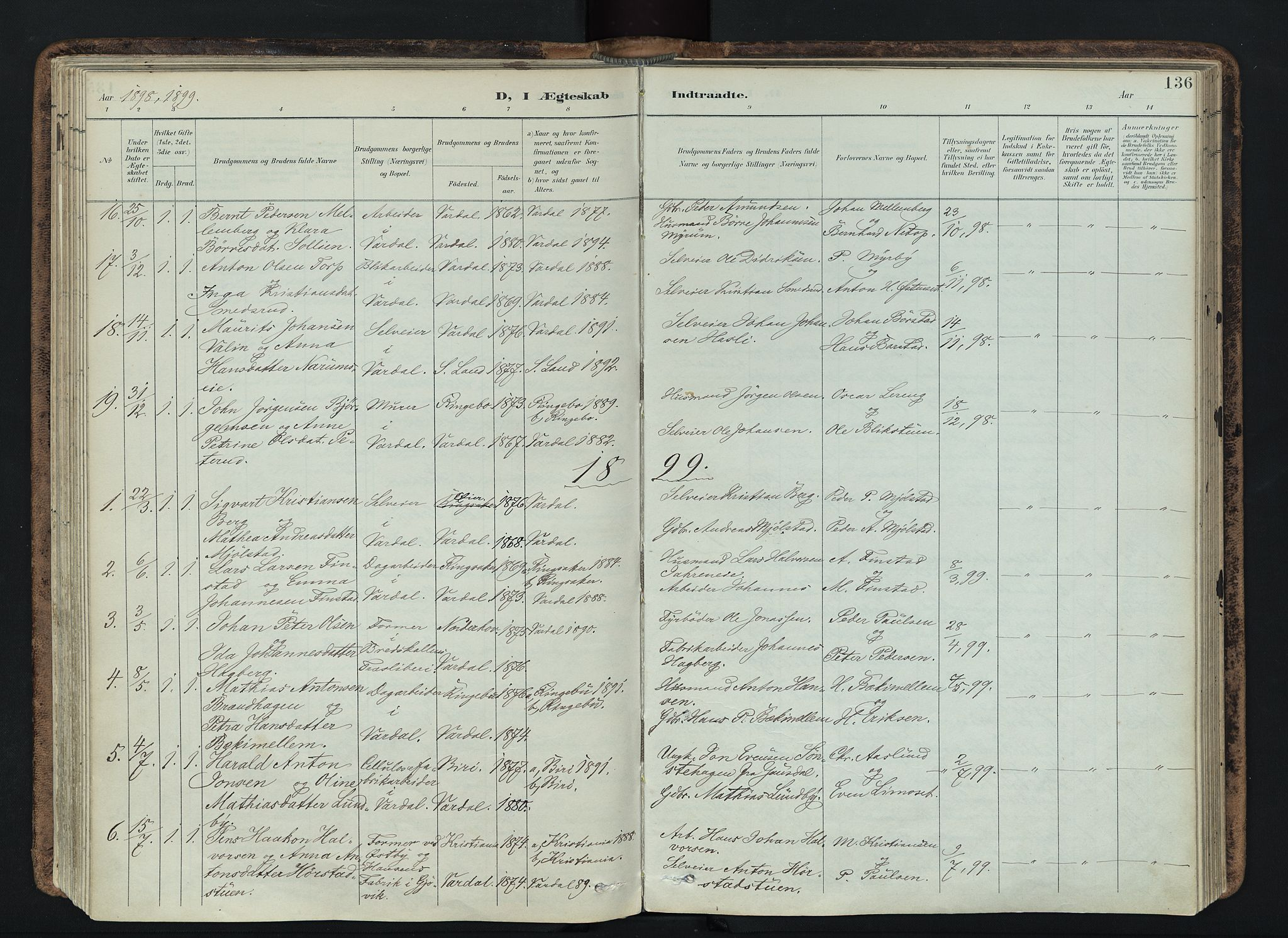 SAH, Vardal prestekontor, H/Ha/Haa/L0019: Ministerialbok nr. 19, 1893-1907, s. 136