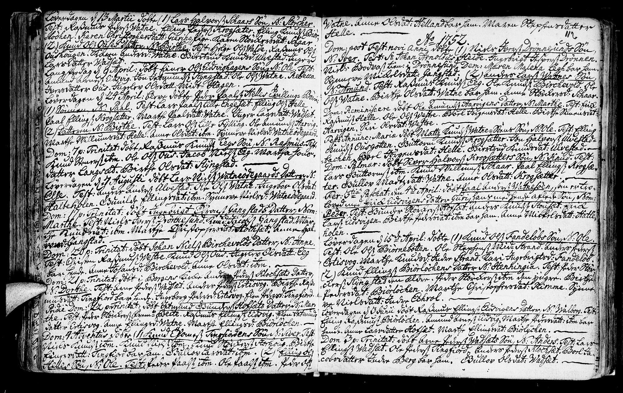 SAT, Ministerialprotokoller, klokkerbøker og fødselsregistre - Møre og Romsdal, 525/L0371: Ministerialbok nr. 525A01, 1699-1777, s. 112