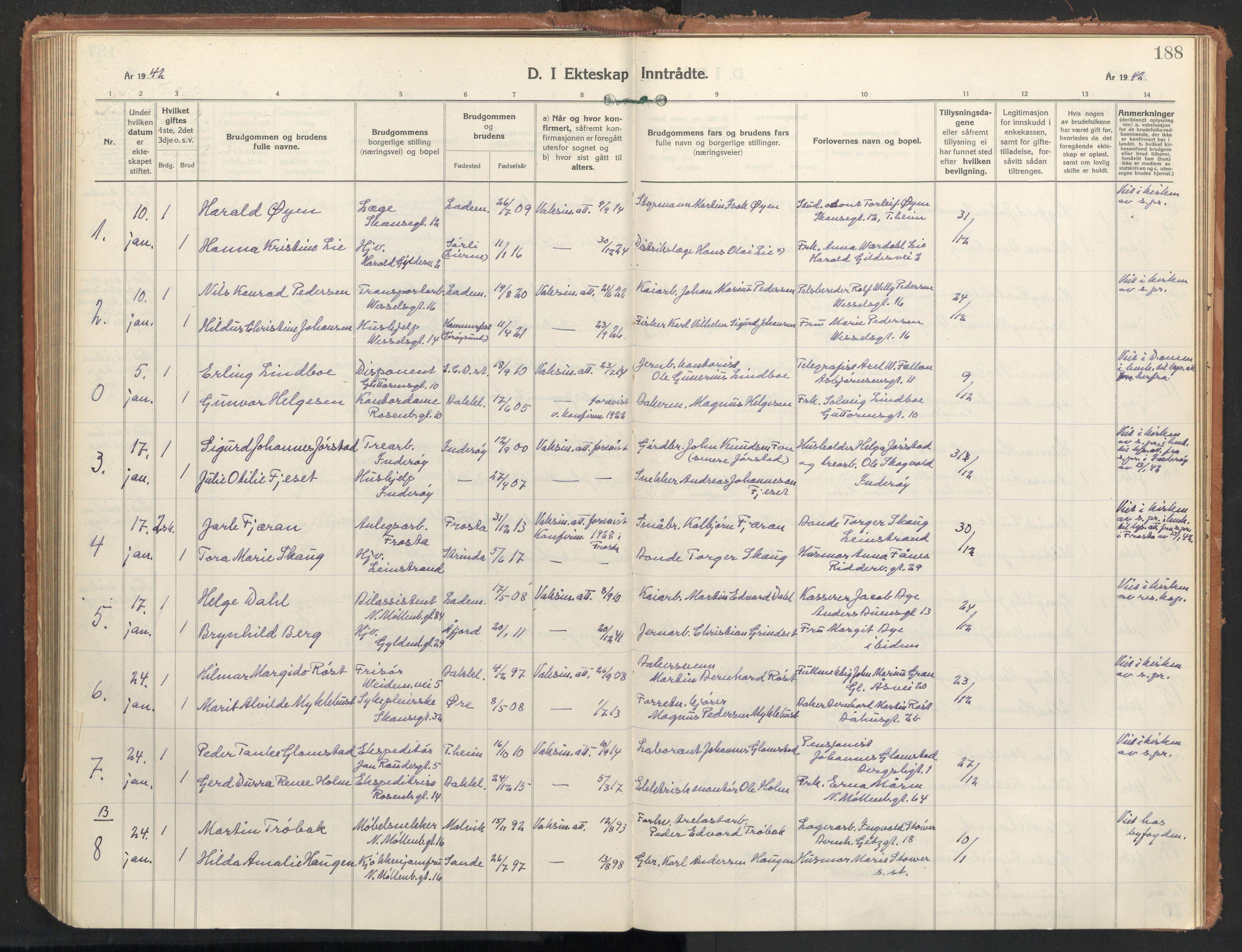 SAT, Ministerialprotokoller, klokkerbøker og fødselsregistre - Sør-Trøndelag, 604/L0209: Ministerialbok nr. 604A29, 1931-1945, s. 188