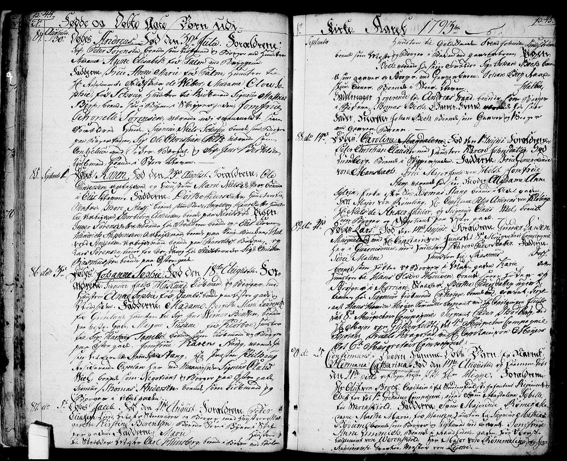 SAO, Halden prestekontor Kirkebøker, F/Fa/L0002: Ministerialbok nr. I 2, 1792-1812, s. 44-45