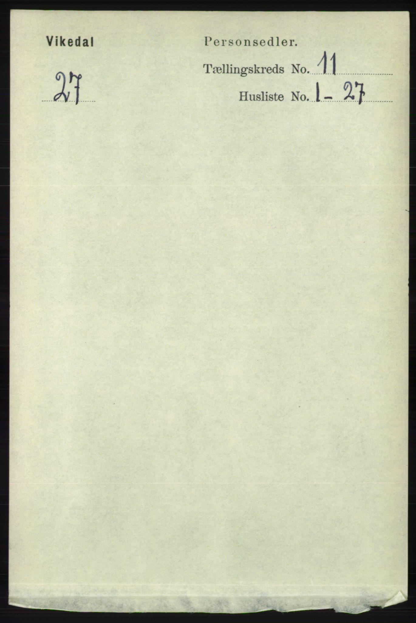 RA, Folketelling 1891 for 1157 Vikedal herred, 1891, s. 2896