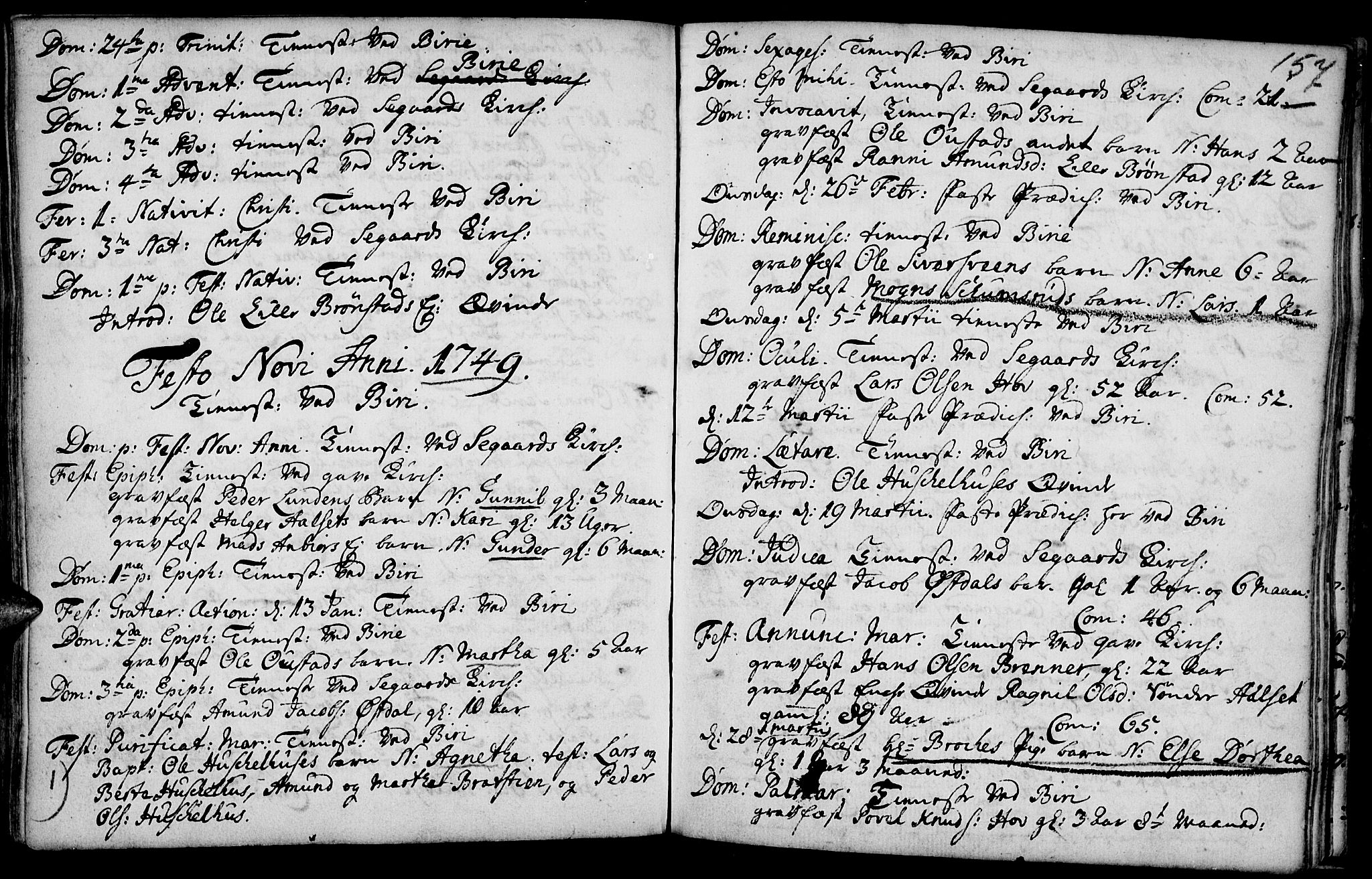 SAH, Biri prestekontor, Ministerialbok nr. 1, 1730-1754, s. 157