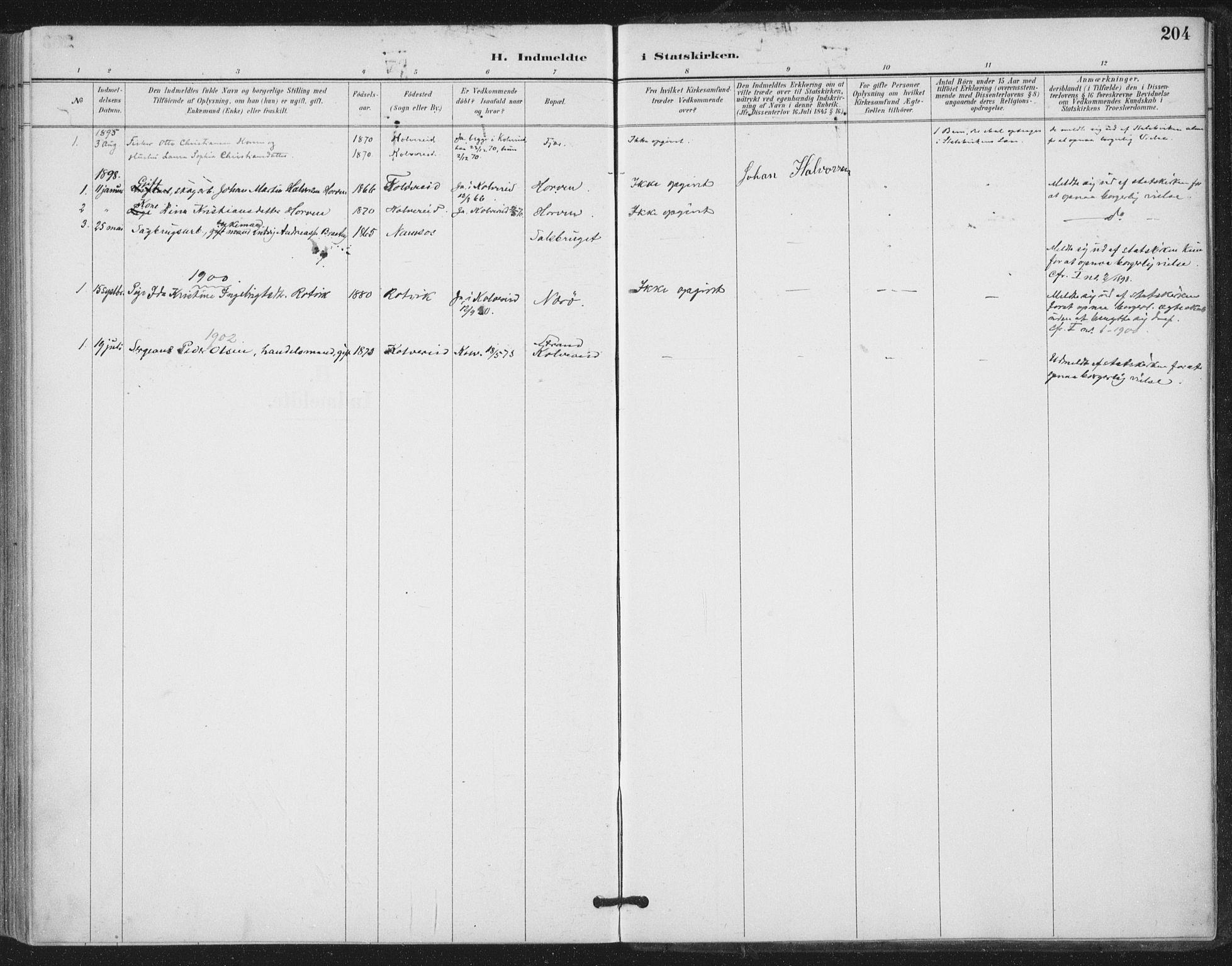 SAT, Ministerialprotokoller, klokkerbøker og fødselsregistre - Nord-Trøndelag, 780/L0644: Ministerialbok nr. 780A08, 1886-1903, s. 204