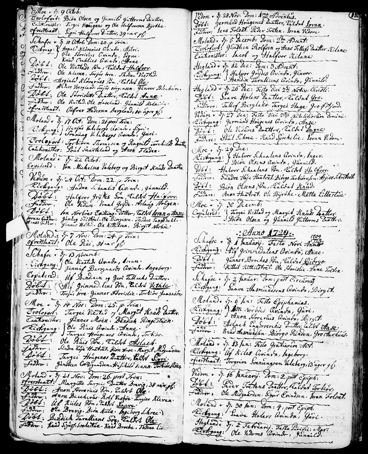 SAKO, Fyresdal kirkebøker, F/Fa/L0001: Ministerialbok nr. I 1, 1724-1748, s. 15