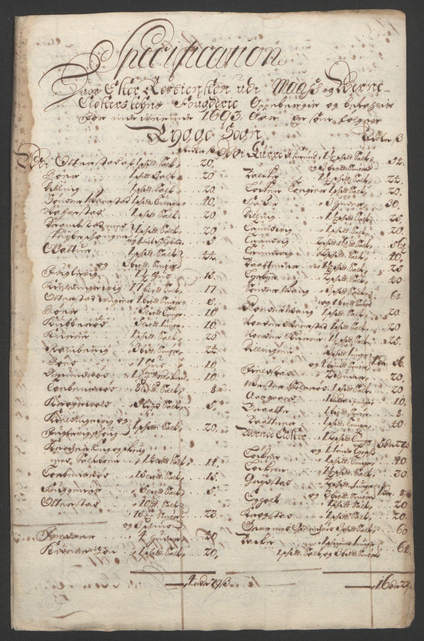 RA, Rentekammeret inntil 1814, Reviderte regnskaper, Fogderegnskap, R02/L0108: Fogderegnskap Moss og Verne kloster, 1692-1693, s. 325