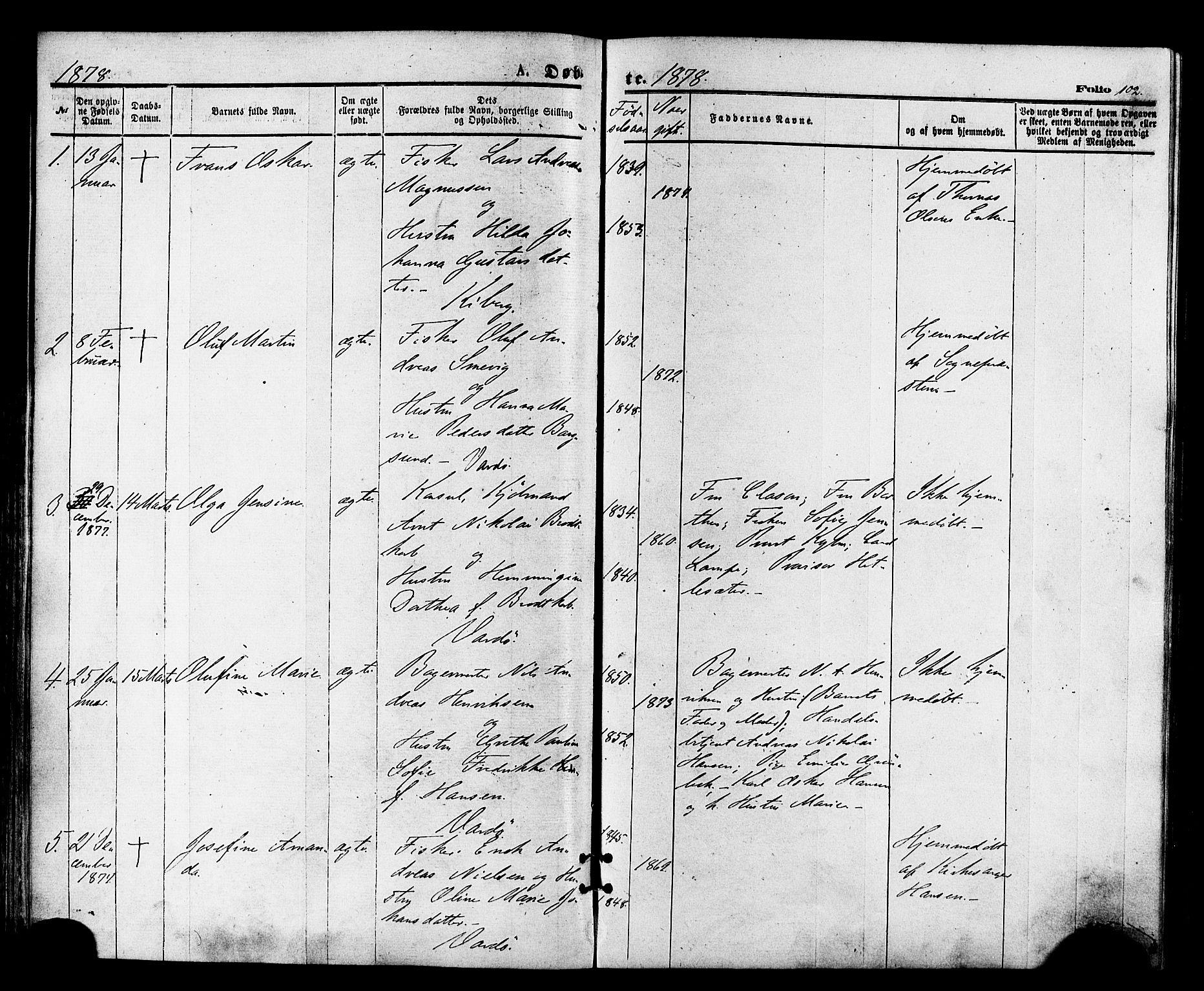 SATØ, Vardø sokneprestkontor, H/Ha/L0005kirke: Ministerialbok nr. 5, 1872-1878, s. 102