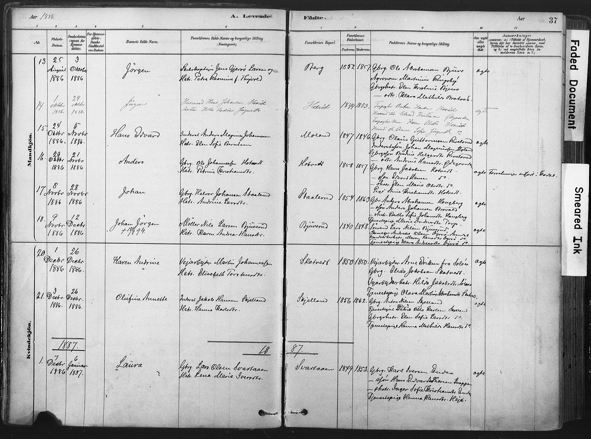 SAKO, Andebu kirkebøker, F/Fa/L0007: Ministerialbok nr. 7, 1878-1899, s. 37