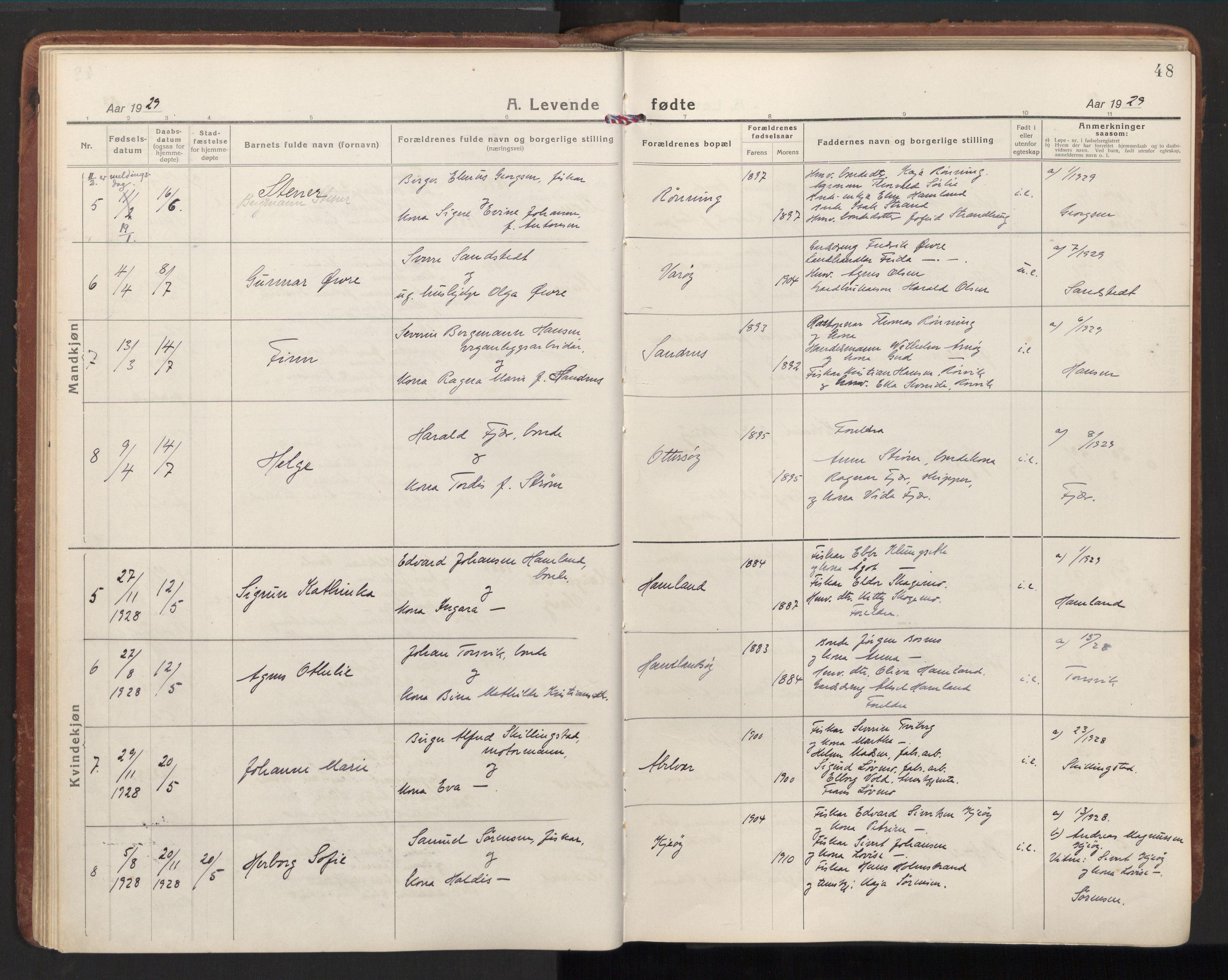 SAT, Ministerialprotokoller, klokkerbøker og fødselsregistre - Nord-Trøndelag, 784/L0678: Ministerialbok nr. 784A13, 1921-1938, s. 48