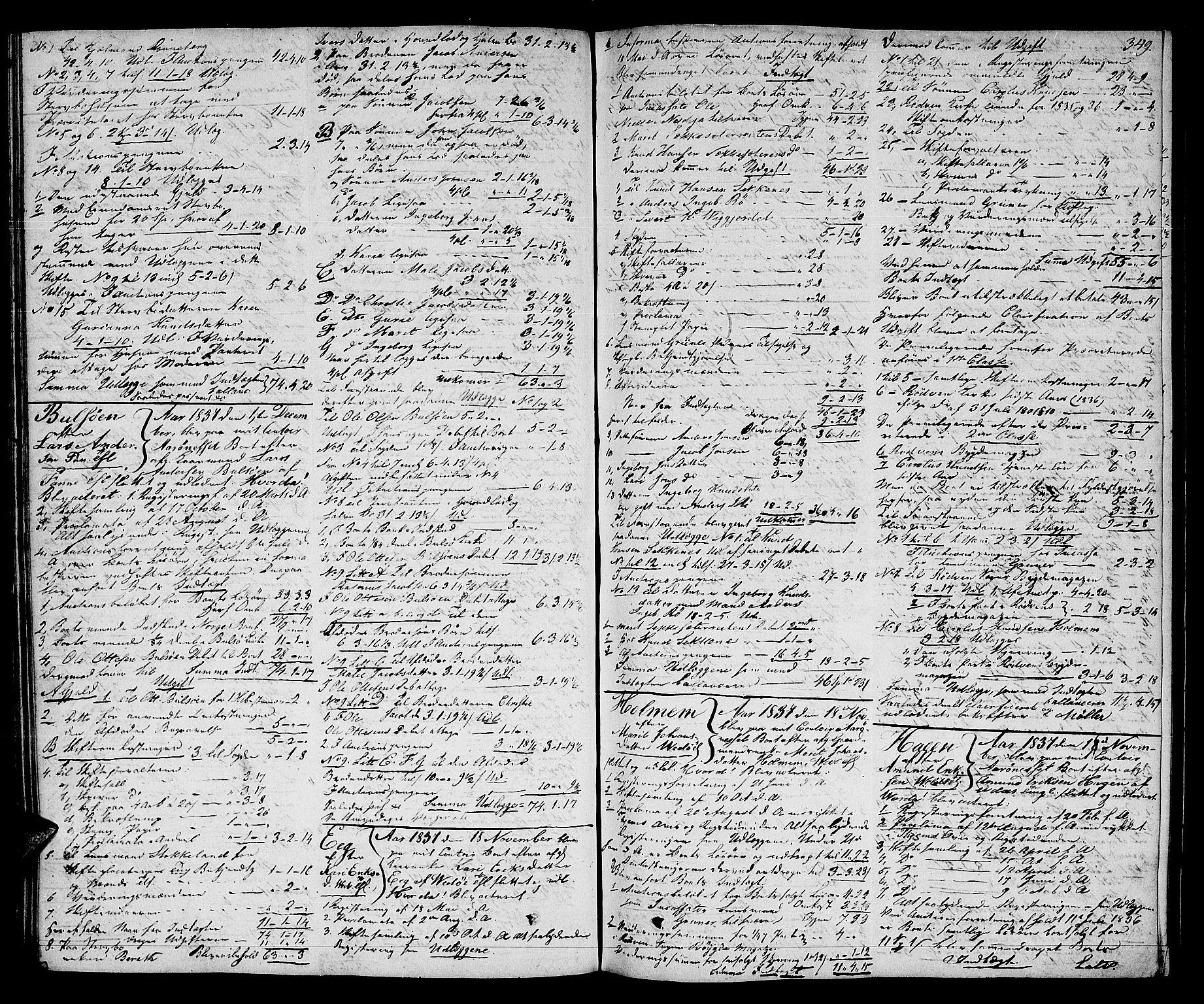 SAT, Romsdal sorenskriveri, 3/3A/L0017: Skifteutlodnings Protokoll 3, 1832-1840, s. 349