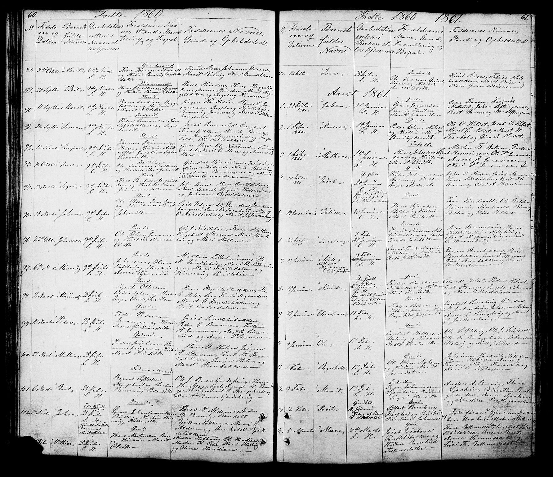SAH, Lesja prestekontor, Klokkerbok nr. 5, 1850-1894, s. 60-61