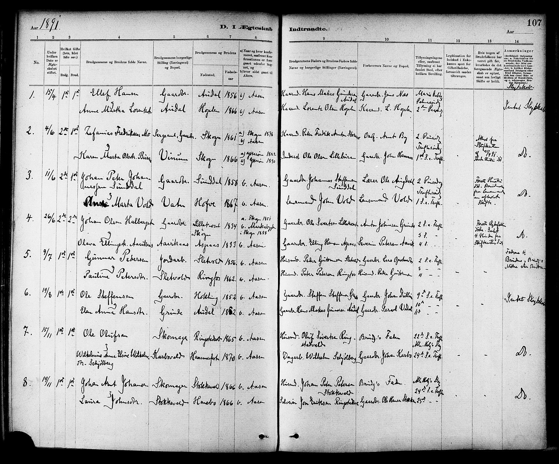 SAT, Ministerialprotokoller, klokkerbøker og fødselsregistre - Nord-Trøndelag, 714/L0130: Ministerialbok nr. 714A01, 1878-1895, s. 107