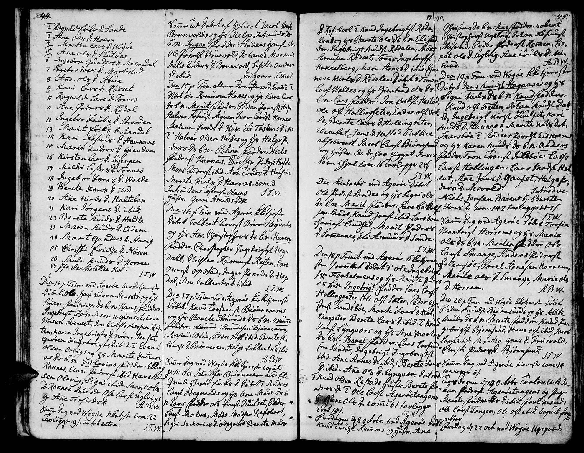 SAT, Ministerialprotokoller, klokkerbøker og fødselsregistre - Møre og Romsdal, 560/L0717: Ministerialbok nr. 560A01, 1785-1808, s. 44-45