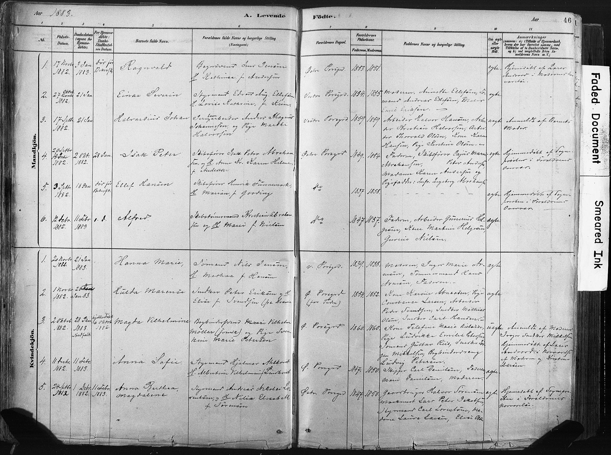 SAKO, Porsgrunn kirkebøker , F/Fa/L0008: Ministerialbok nr. 8, 1878-1895, s. 46