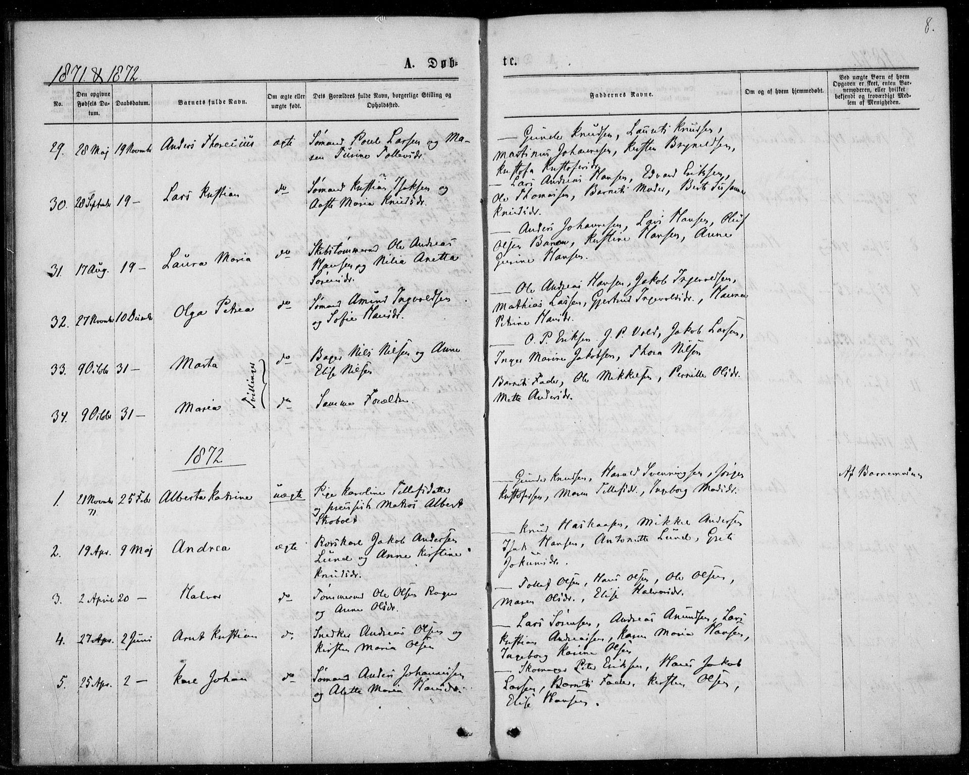 SAKO, Langesund kirkebøker, F/Fa/L0001: Ministerialbok nr. 1, 1870-1877, s. 8