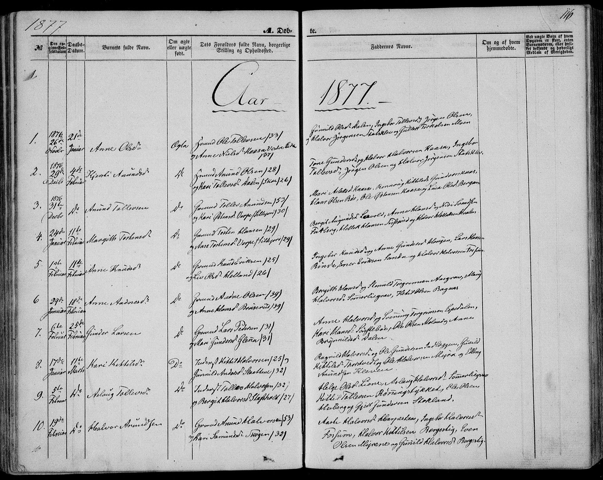 SAKO, Bø kirkebøker, F/Fa/L0009: Ministerialbok nr. 9, 1862-1879, s. 116