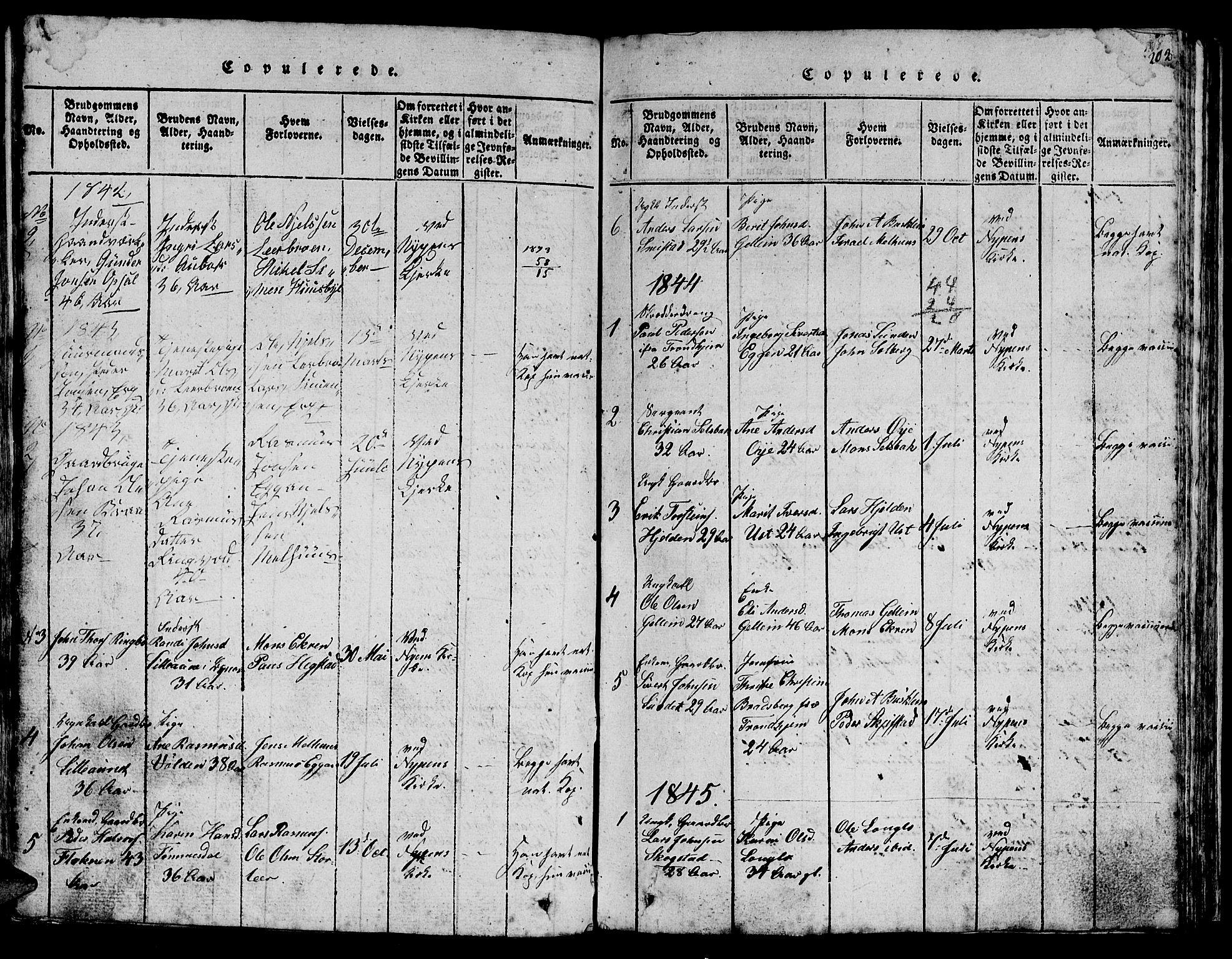 SAT, Ministerialprotokoller, klokkerbøker og fødselsregistre - Sør-Trøndelag, 613/L0393: Klokkerbok nr. 613C01, 1816-1886, s. 202