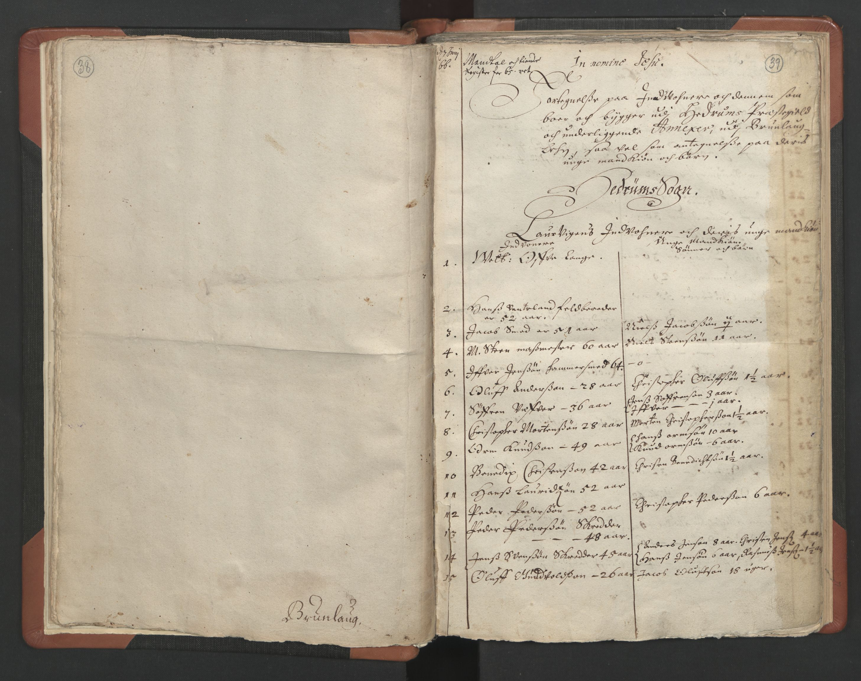 RA, Sogneprestenes manntall 1664-1666, nr. 11: Brunlanes prosti, 1664-1666, s. 38-39