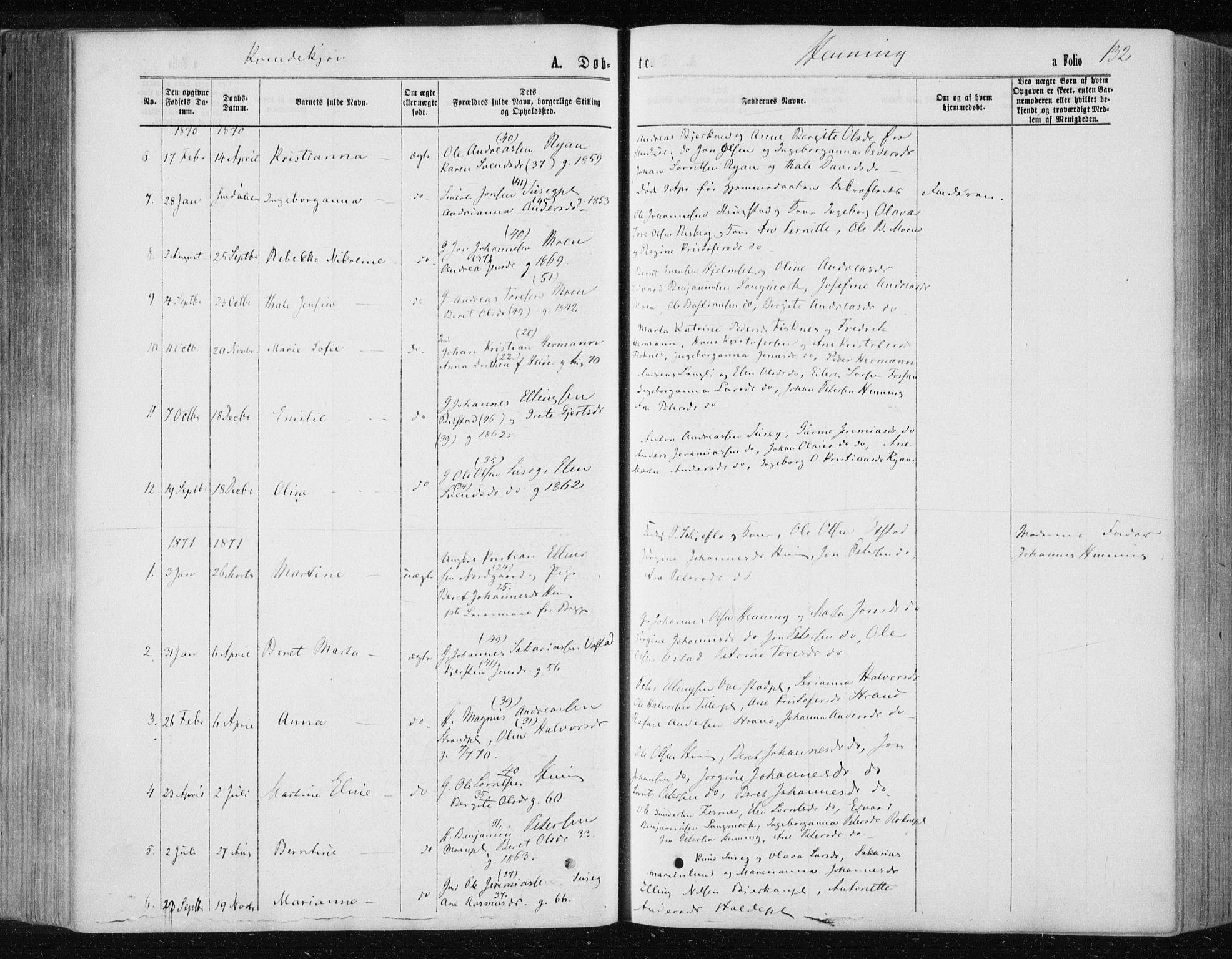 SAT, Ministerialprotokoller, klokkerbøker og fødselsregistre - Nord-Trøndelag, 735/L0345: Ministerialbok nr. 735A08 /3, 1863-1872, s. 132