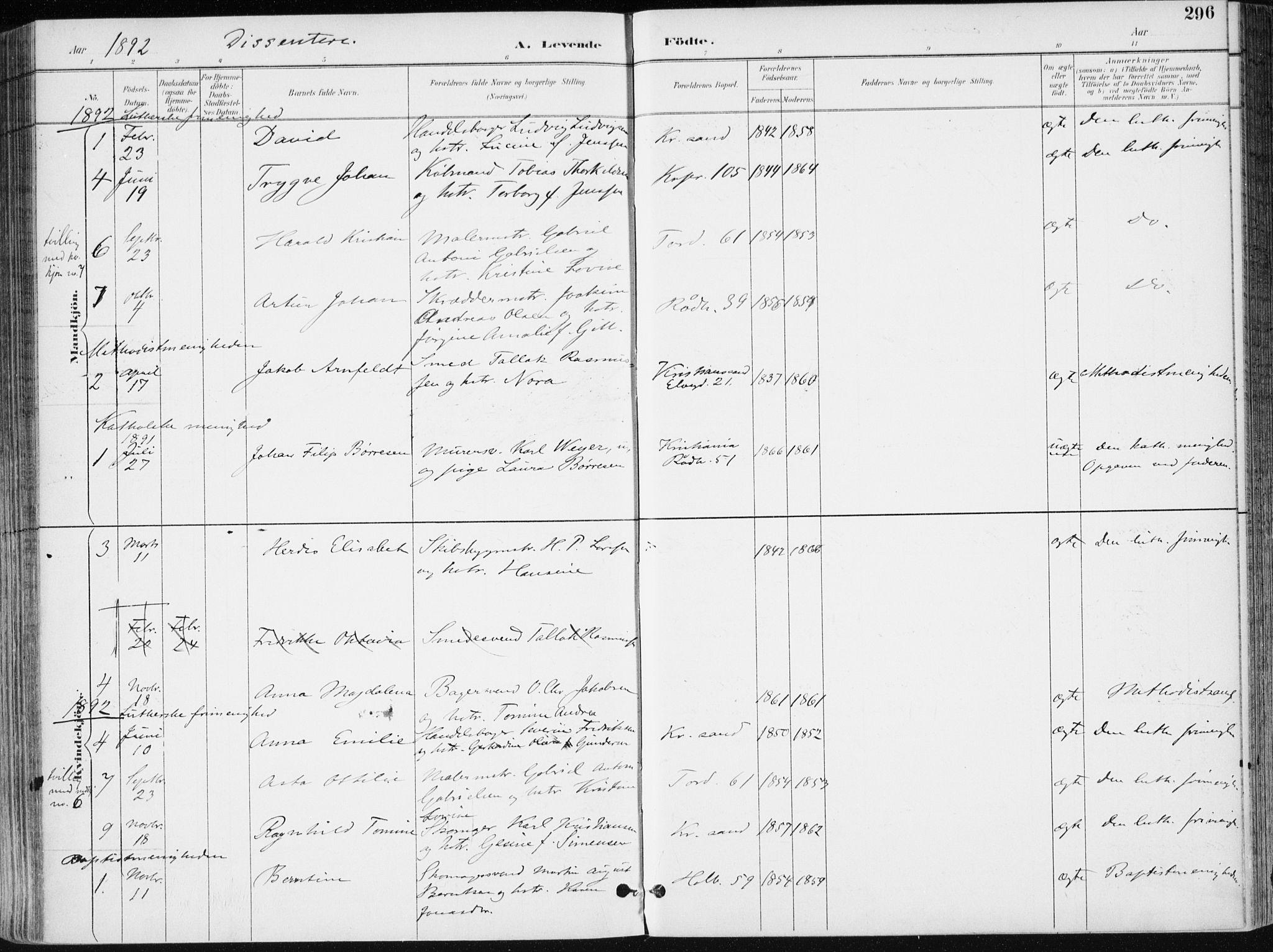 SAK, Kristiansand domprosti, F/Fa/L0019: Ministerialbok nr. A 18, 1890-1897, s. 296