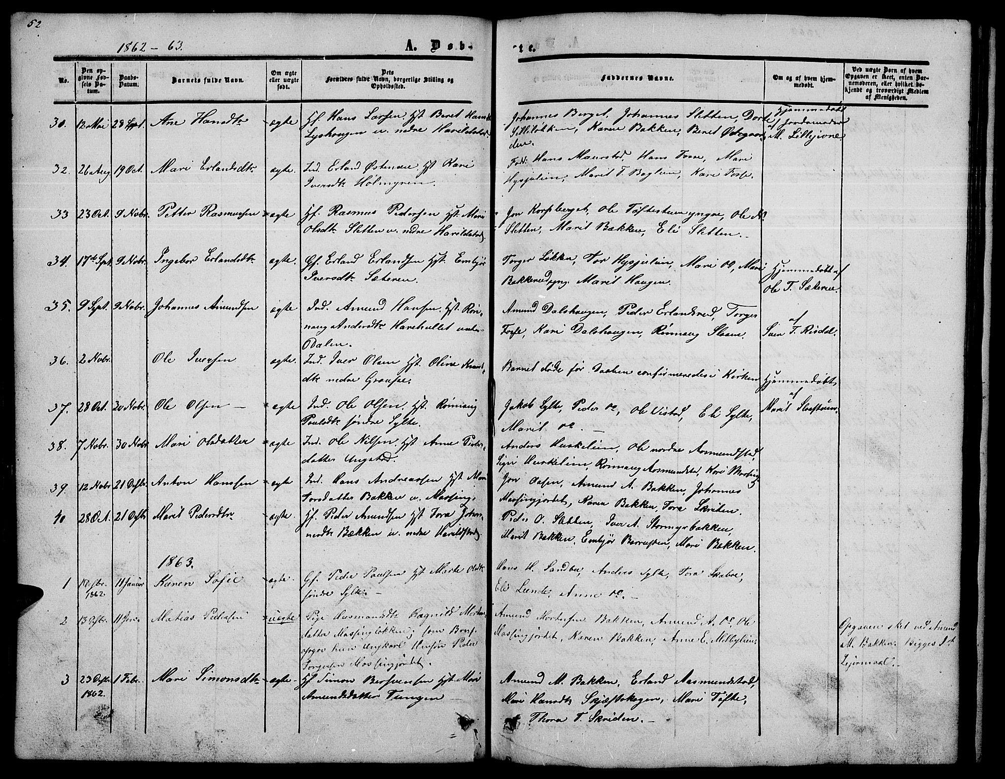 SAH, Nord-Fron prestekontor, Klokkerbok nr. 2, 1851-1883, s. 52
