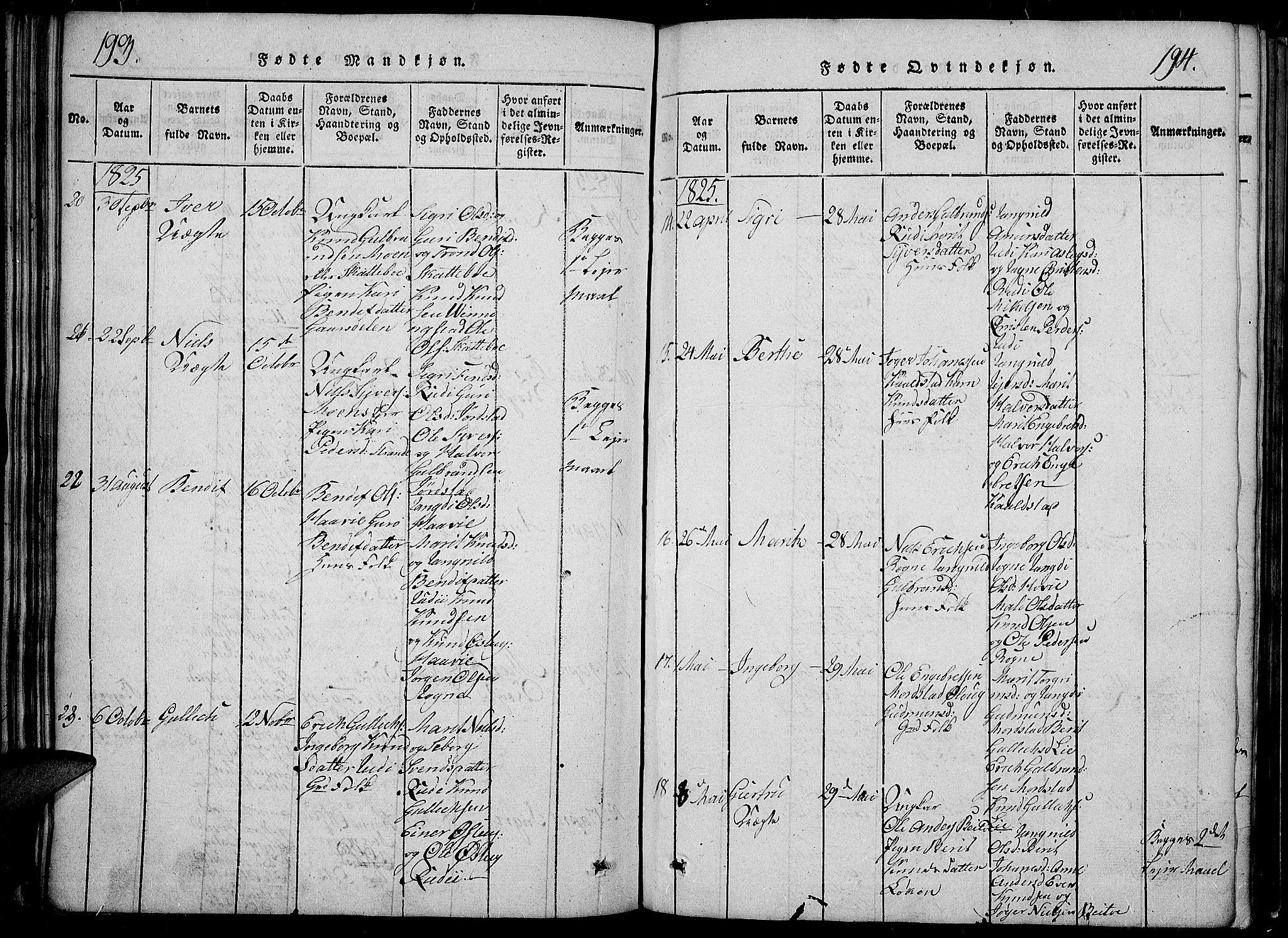 SAH, Slidre prestekontor, Klokkerbok nr. 2, 1814-1839, s. 193-194