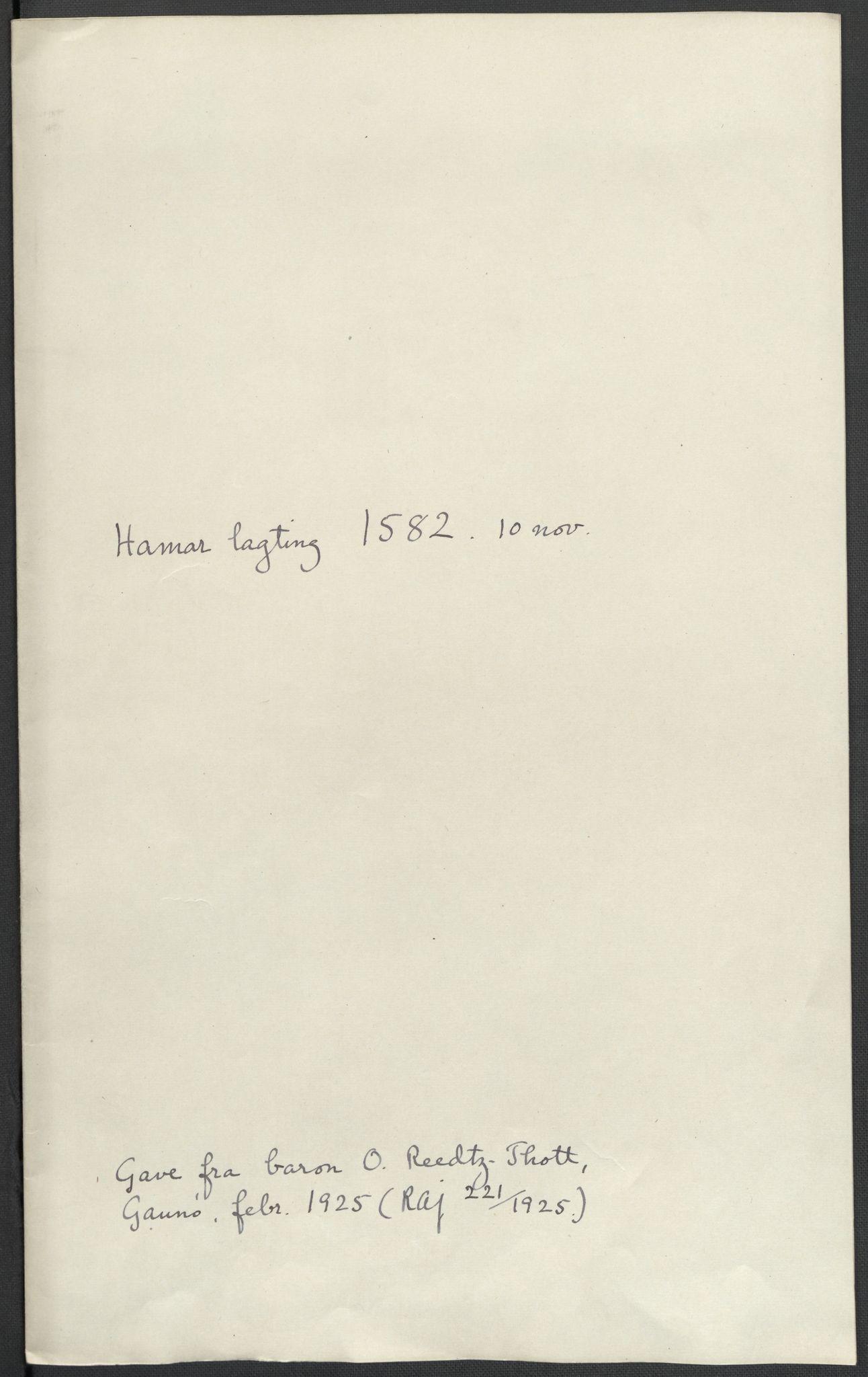 RA, Riksarkivets diplomsamling, F02/L0084: Dokumenter, 1582, s. 46