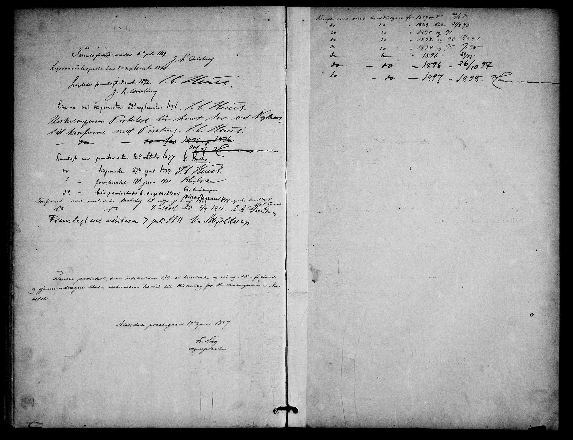 SAKO, Nissedal kirkebøker, G/Ga/L0003: Klokkerbok nr. I 3, 1887-1911