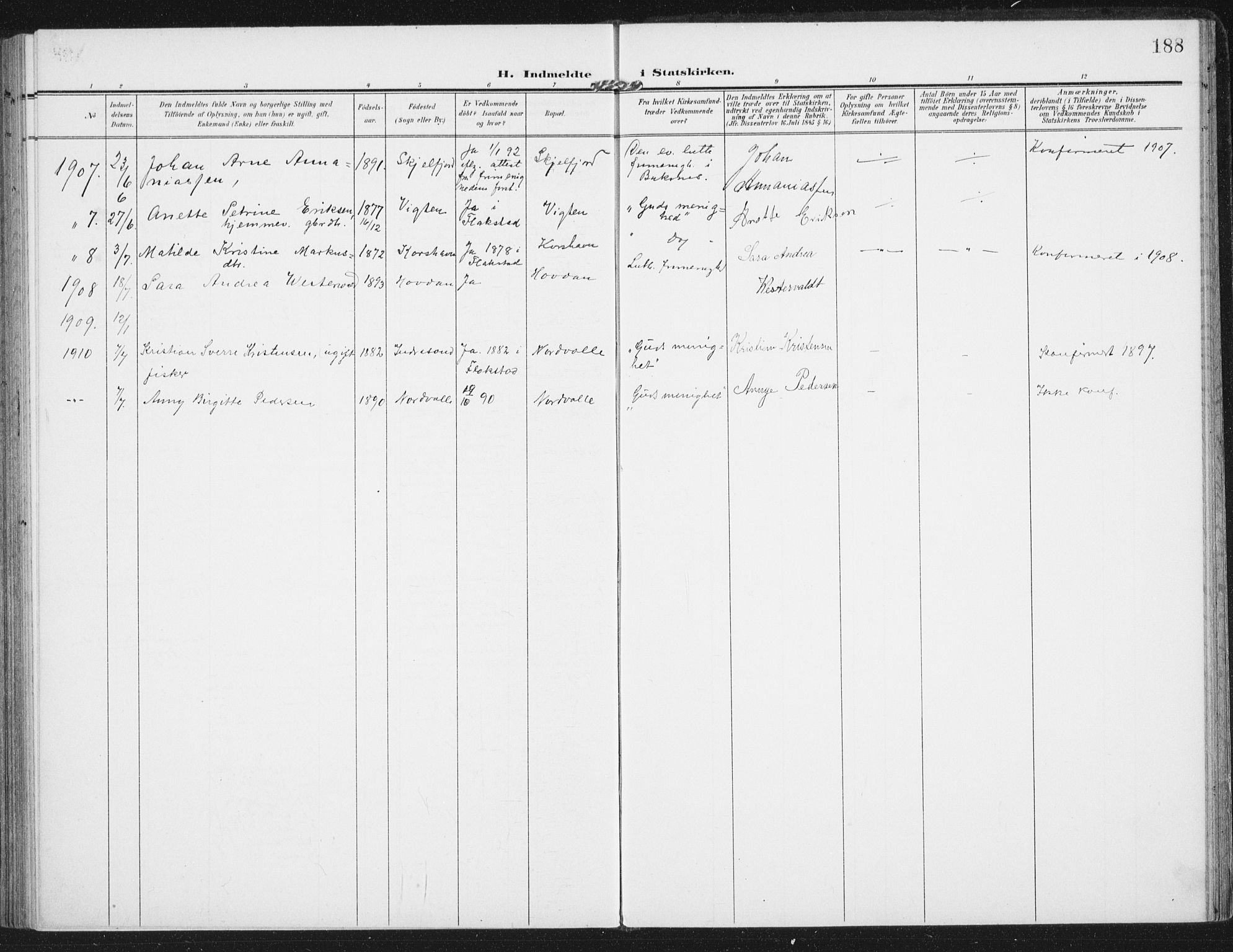 SAT, Ministerialprotokoller, klokkerbøker og fødselsregistre - Nordland, 885/L1206: Ministerialbok nr. 885A07, 1905-1915, s. 188
