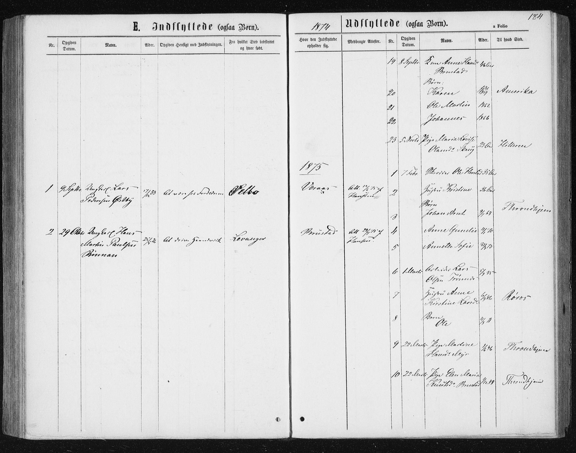SAT, Ministerialprotokoller, klokkerbøker og fødselsregistre - Nord-Trøndelag, 722/L0219: Ministerialbok nr. 722A06, 1868-1880, s. 184