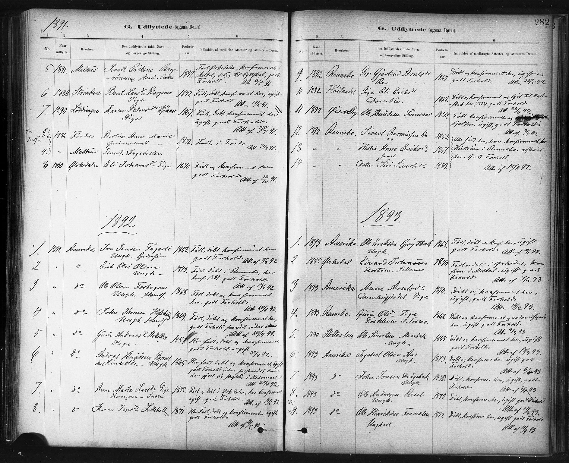 SAT, Ministerialprotokoller, klokkerbøker og fødselsregistre - Sør-Trøndelag, 672/L0857: Ministerialbok nr. 672A09, 1882-1893, s. 282